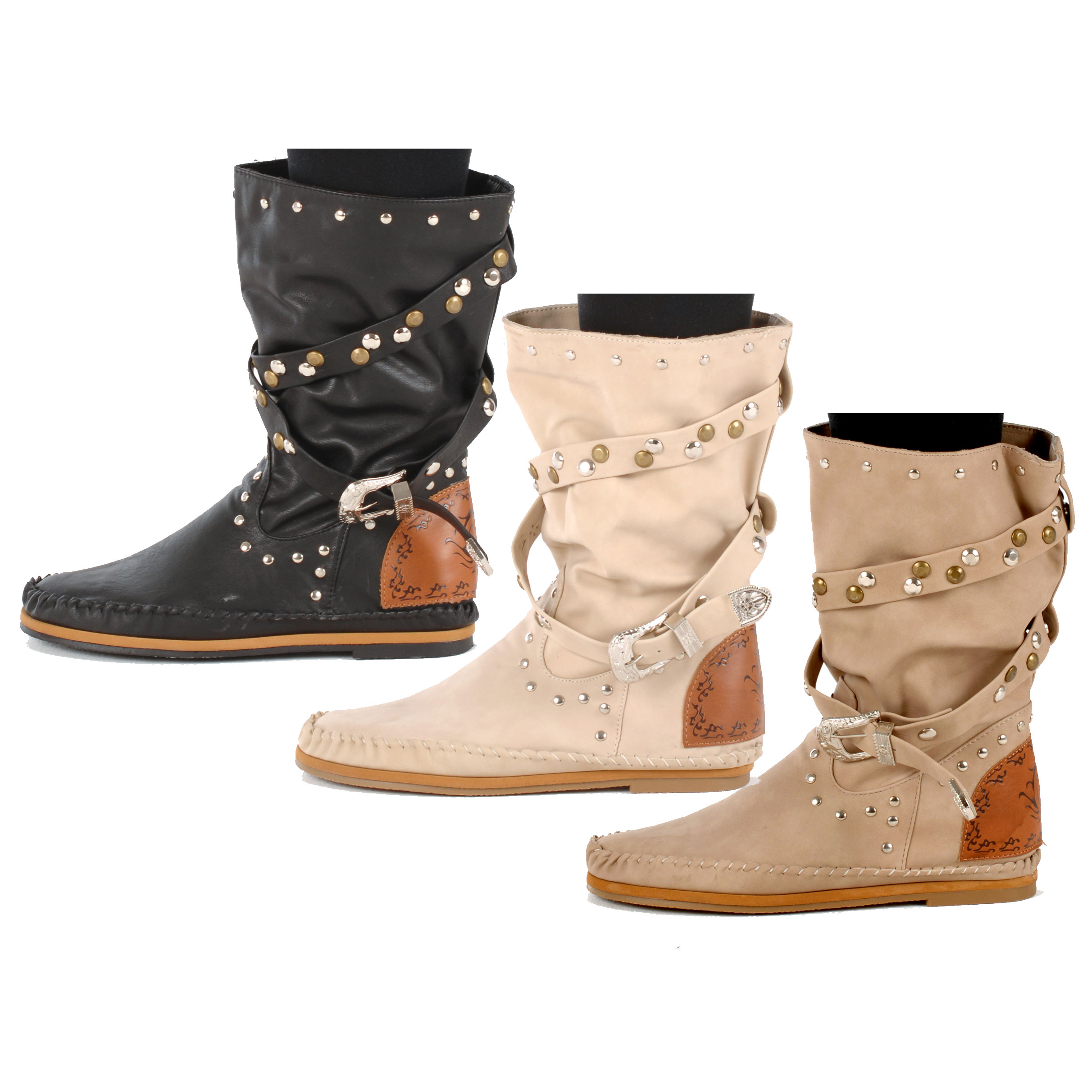 womens indian style multi studded slouch boots uk