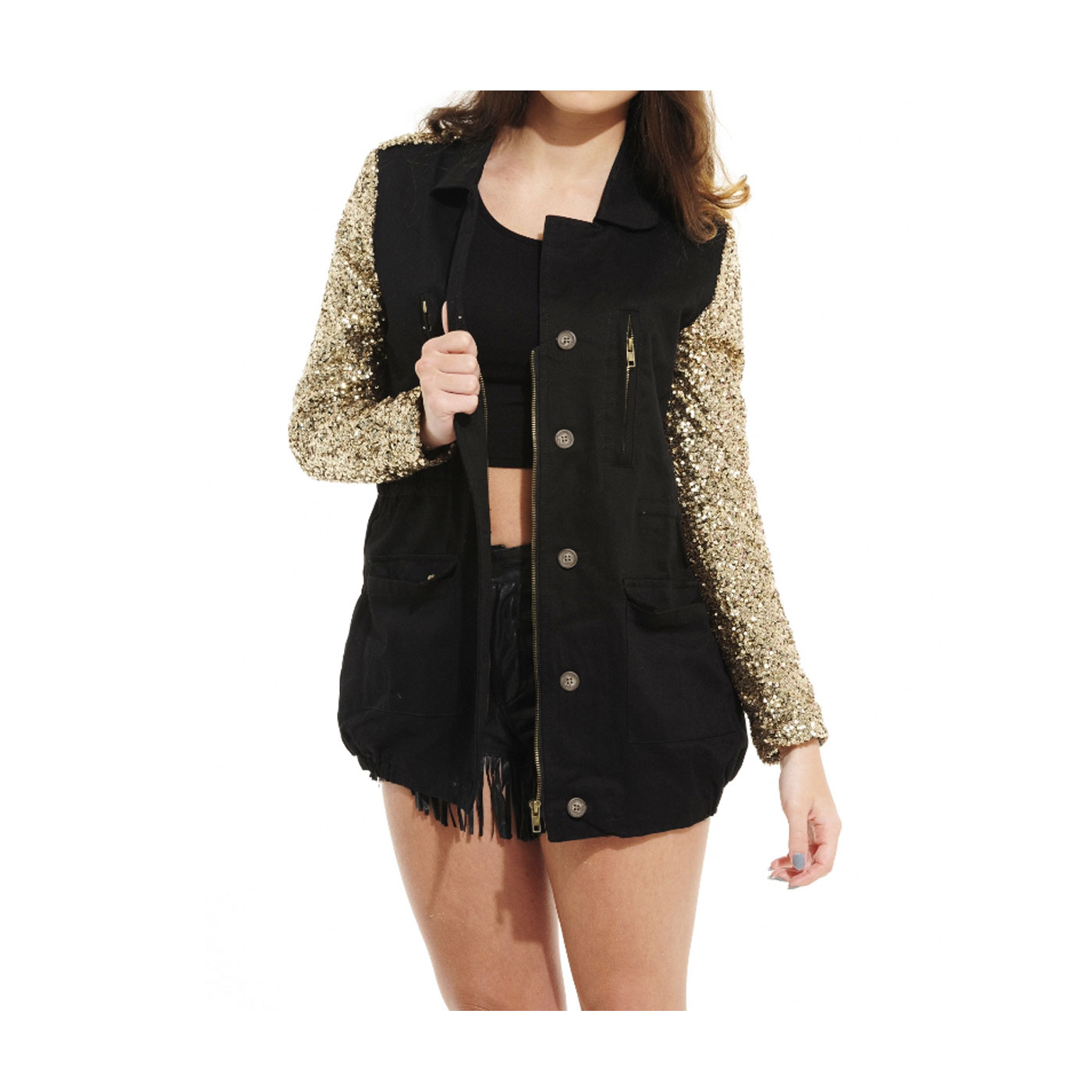 Ladies Womens Contrast Sequin Sleeve Army Military Style Parka