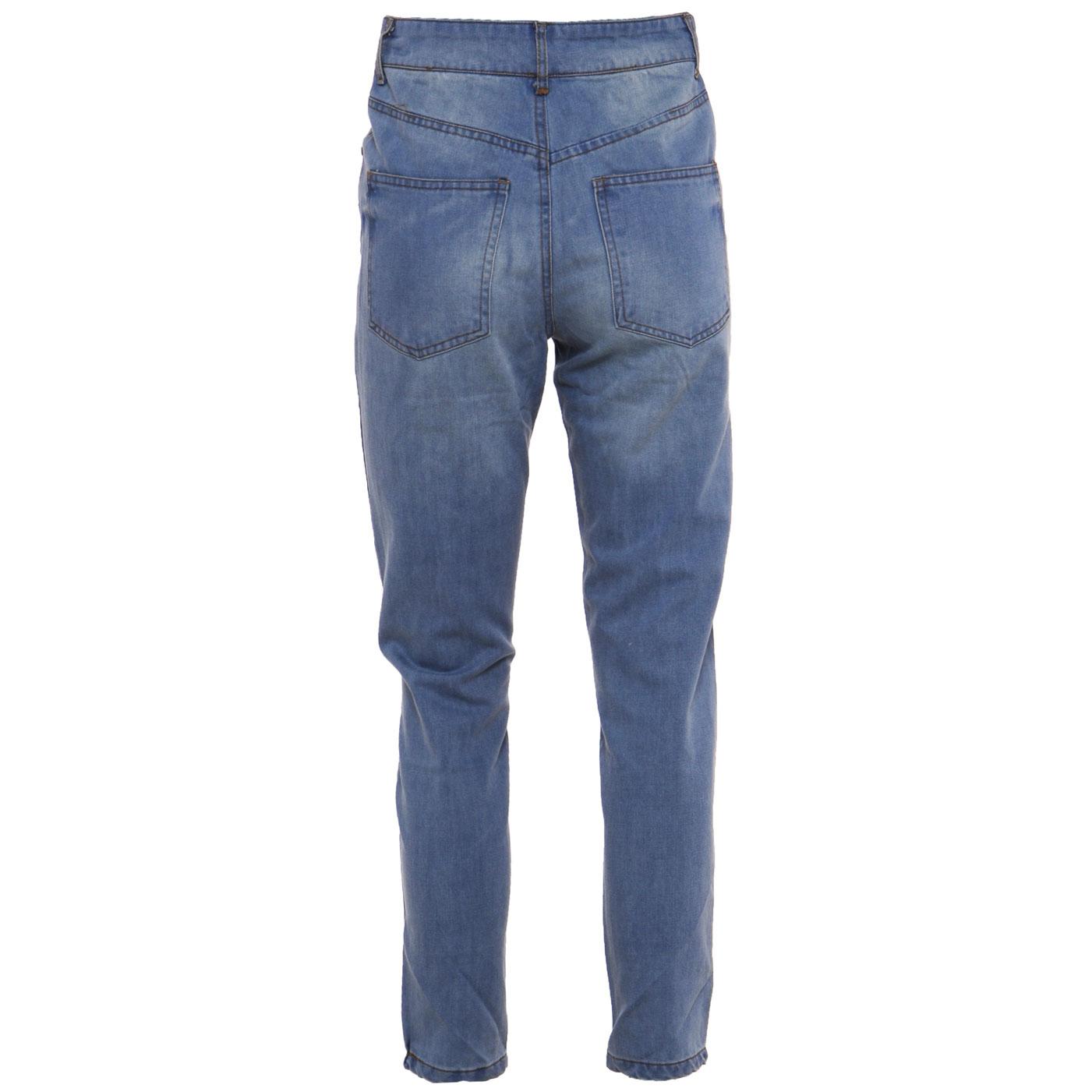 jeans damen 1980er 90er hoher bund denim gerader schnitt gr e eu 36 38 40 42 ebay. Black Bedroom Furniture Sets. Home Design Ideas