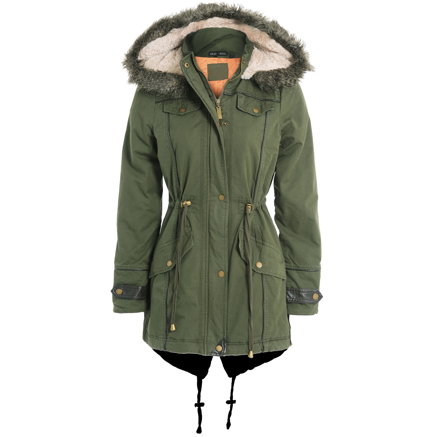 The iconic M is a Fishtail Parka, the fishtail being the shaped back of the coat which adds protection and warmth. The fishtail can be folded up and fastened inside the coat to aid movement – a feature which later made M Parkas popular among the UK's scooter-riding Mods of the 60s.