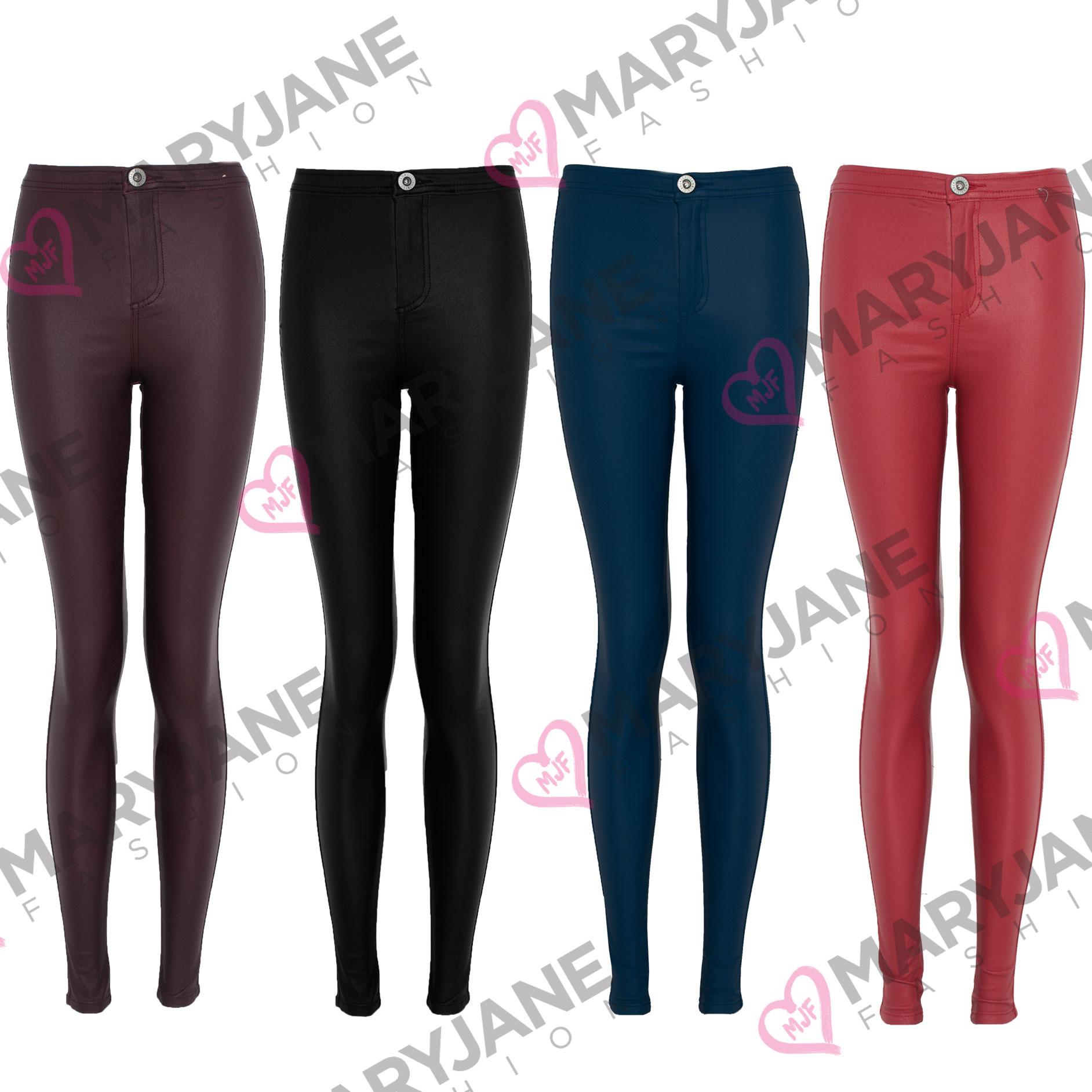 Womens Black Wax Coated Jeans