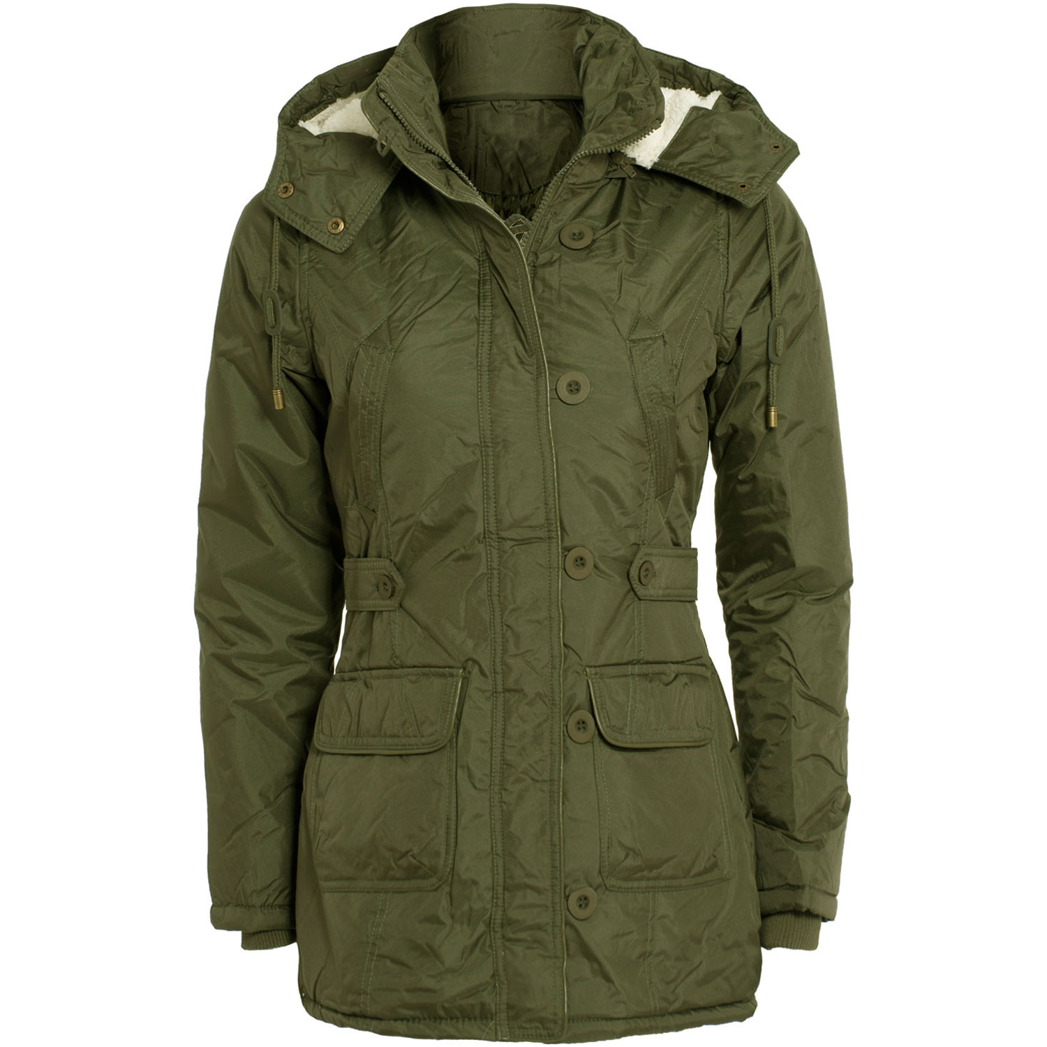 Womens Khaki Black Soft Fur Lined Hooded Zip Up Parka ...