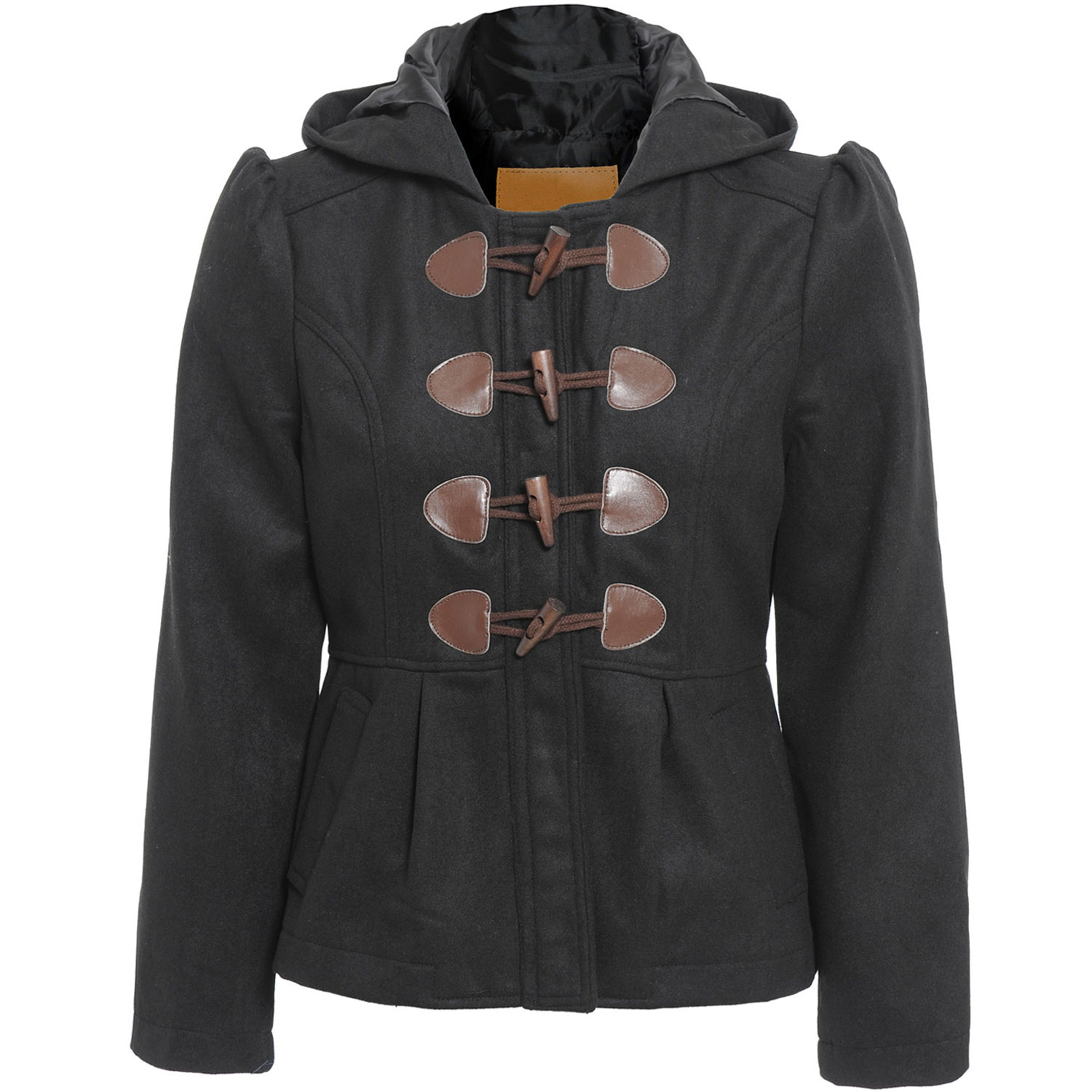 Womens black duffle coat with hood