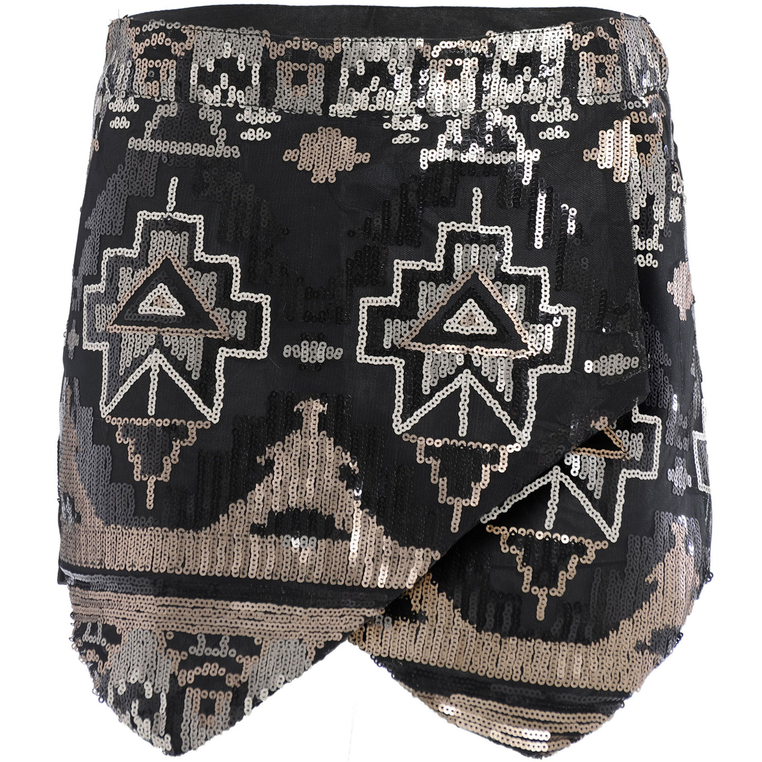 Womens-Ladies-Party-Mini-Short-Sequin-Aztec-Tribal-Skirt-Short-Skorts-Black-8-14