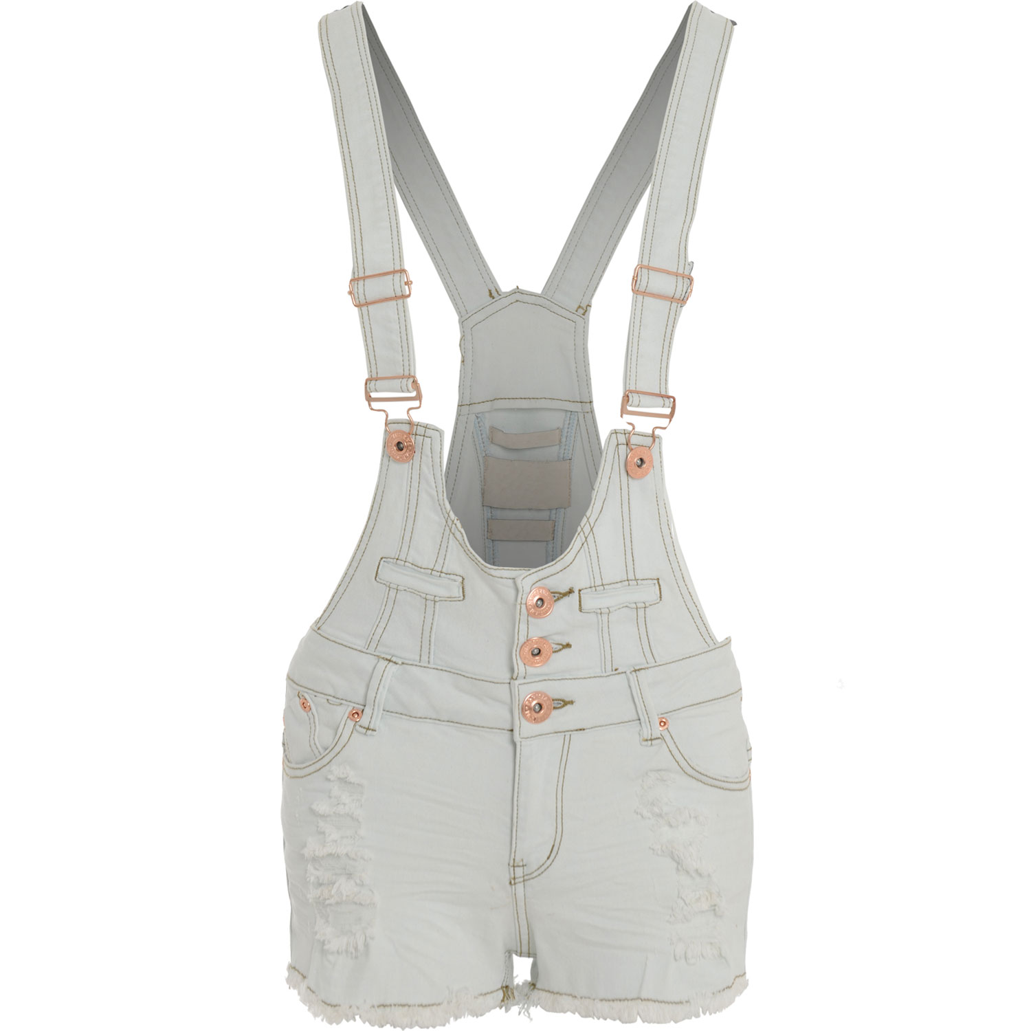 Womens-Ladies-Denim-Bleach-White-Distressed-Hot-Pants-Shorts-Dungarees-Playsuit