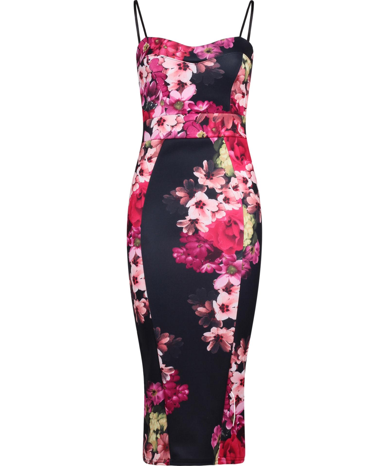 View Item Floral Print Strappy Midi Dress