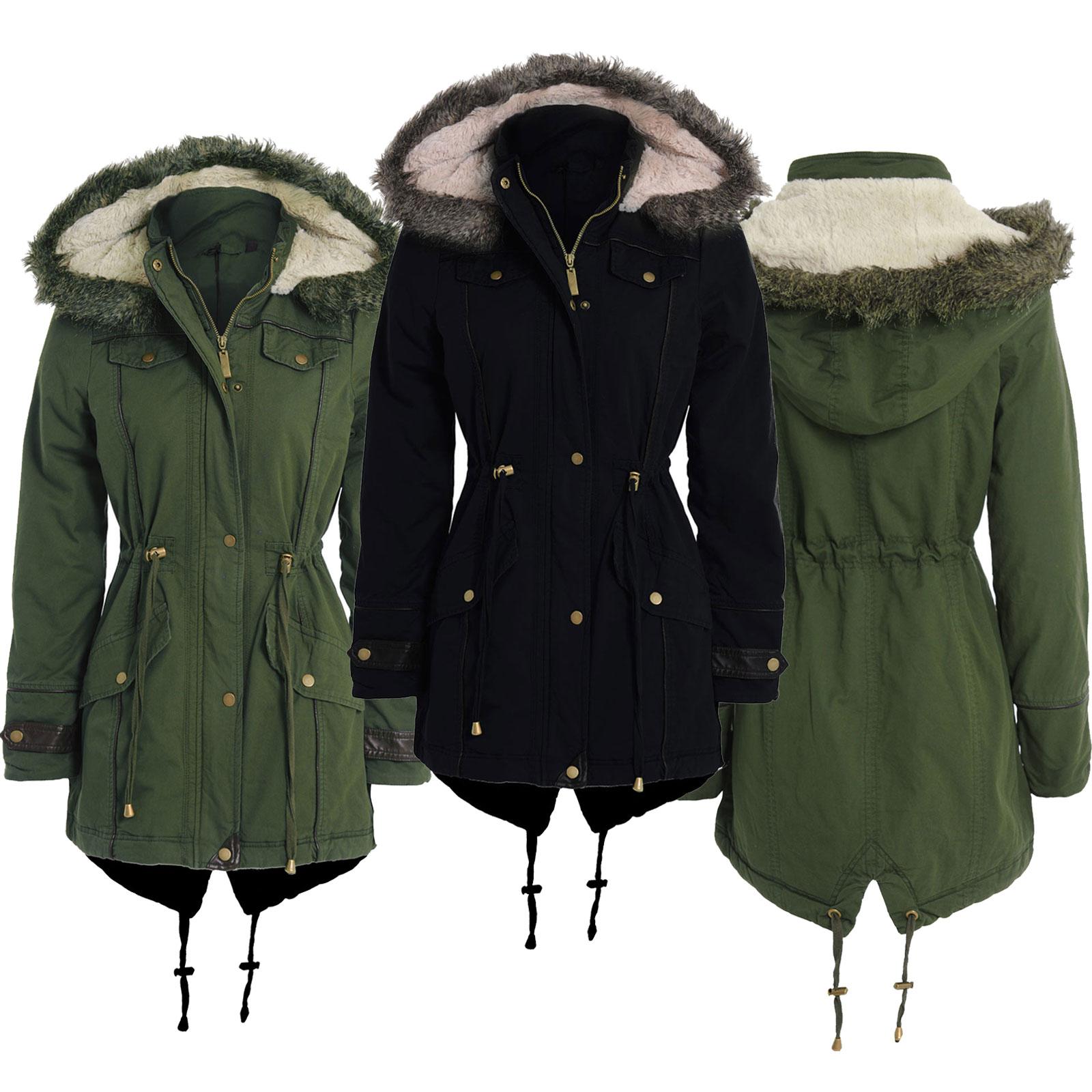 Womens Ladies Plus Size Faux Fur Hooded Winter Parka Jacket