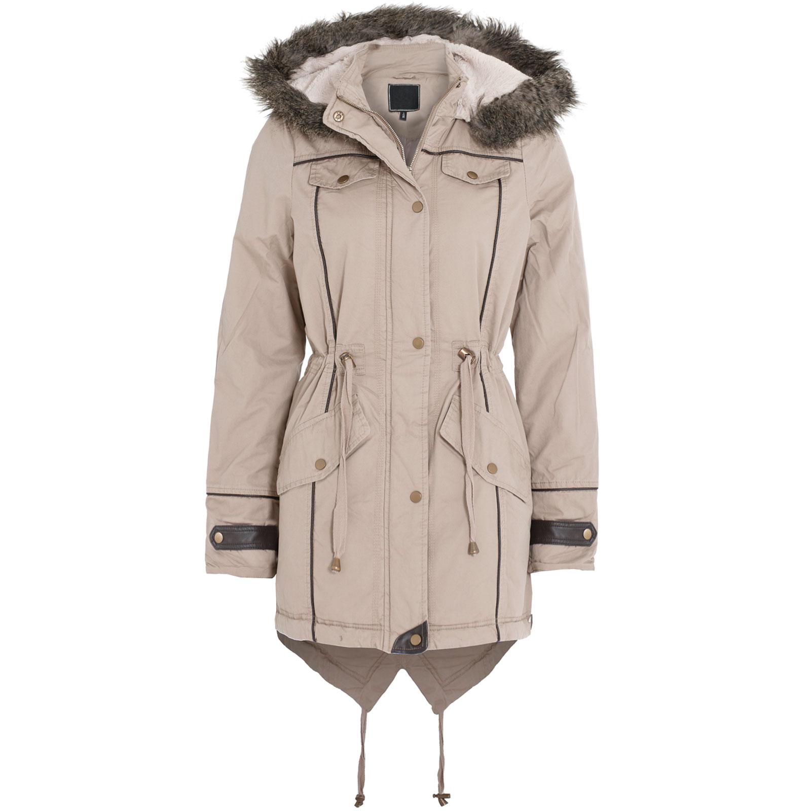 New Womens Ladies Military Faux Fur Hood PU Trim Fishtail Parka