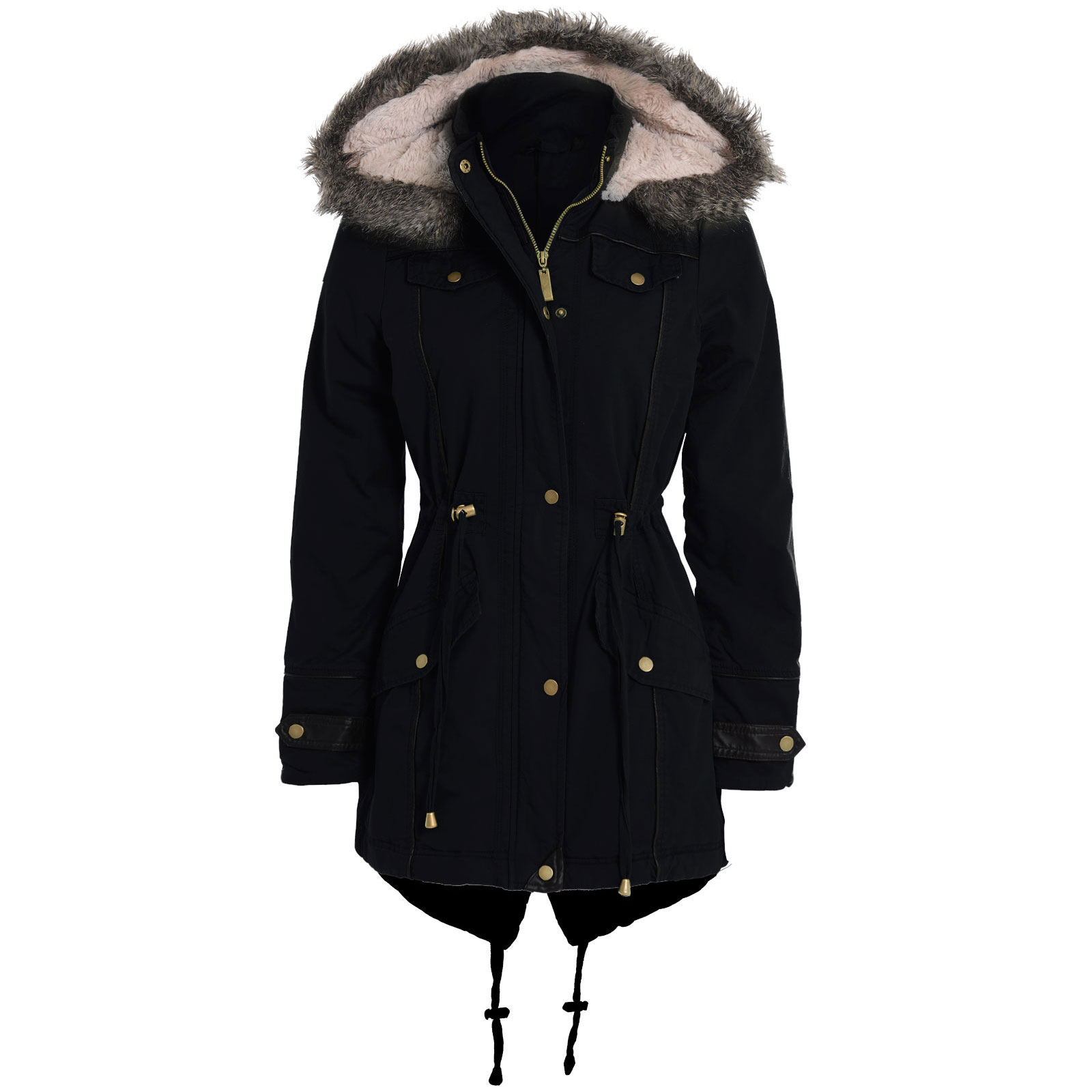Womens Black Jacket With Fur Hood - Coat Nj