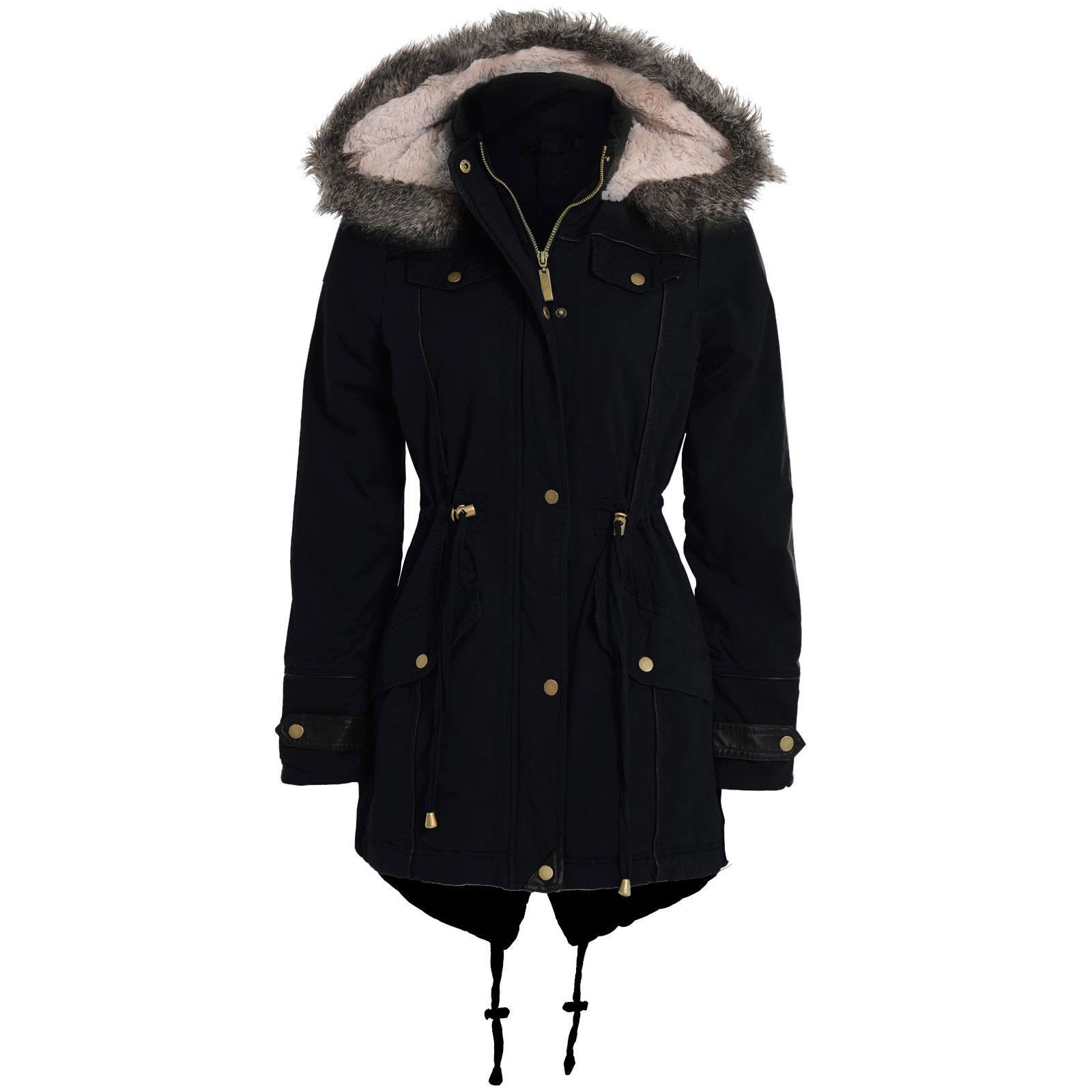 New Womens Ladies Military Faux Fur Hood PU Trim Fishtail Parka ...