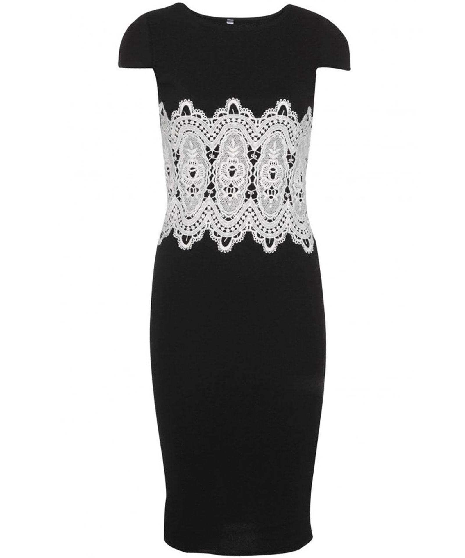 View Item Lace Panel Appliqu� Midi Dress