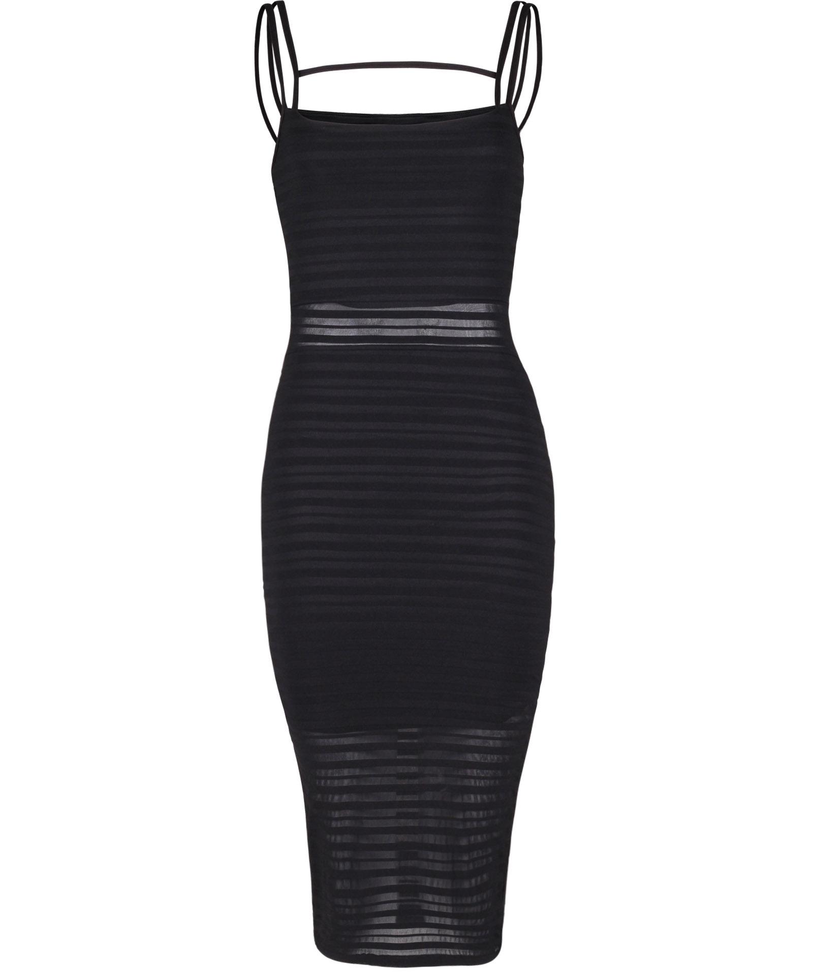 View Item Striped Mesh Bodycon Dress