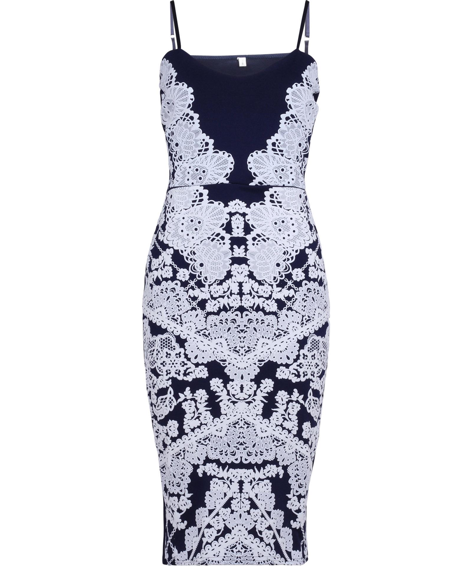View Item Lace Print Strappy Midi Dress