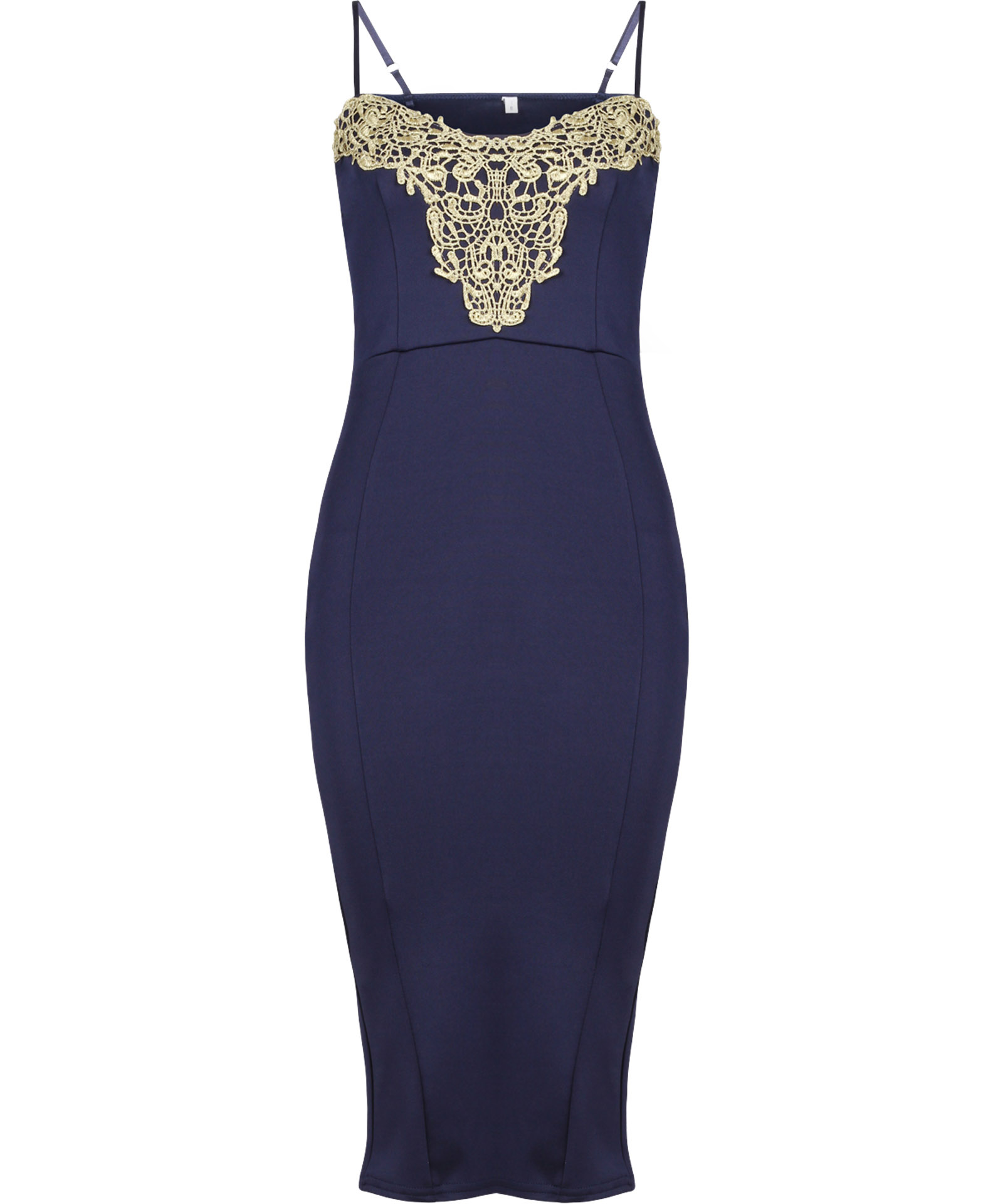 View Item Gold Embellished Midi Dress