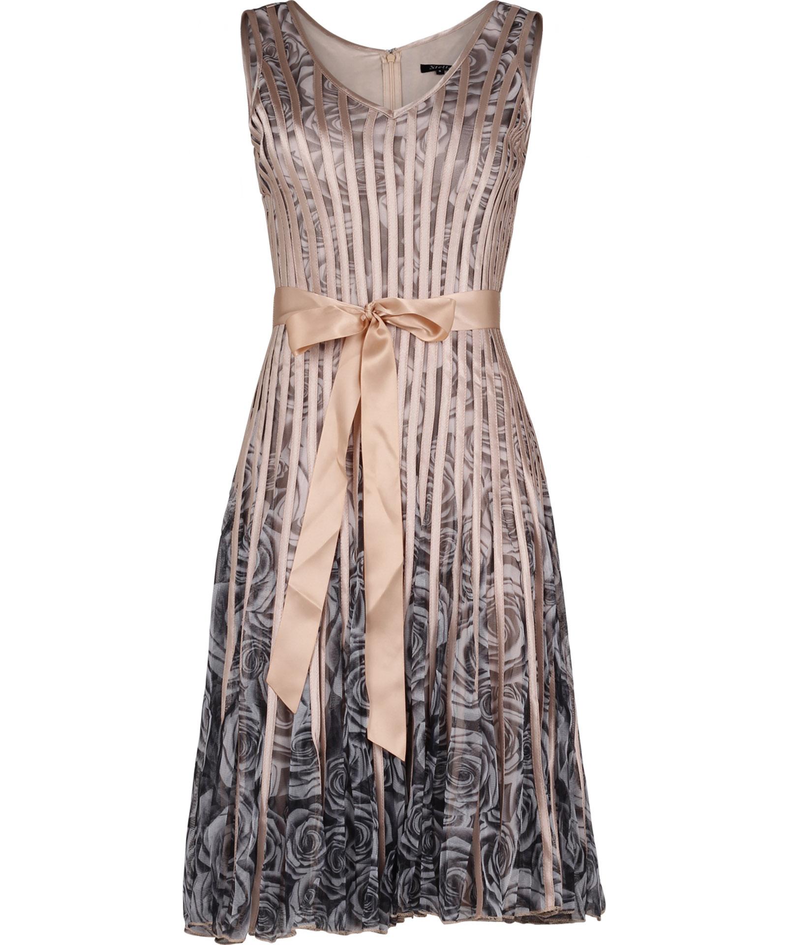 View Item Luxe Ribbon / Rose Chiffon Panel Evening Dress