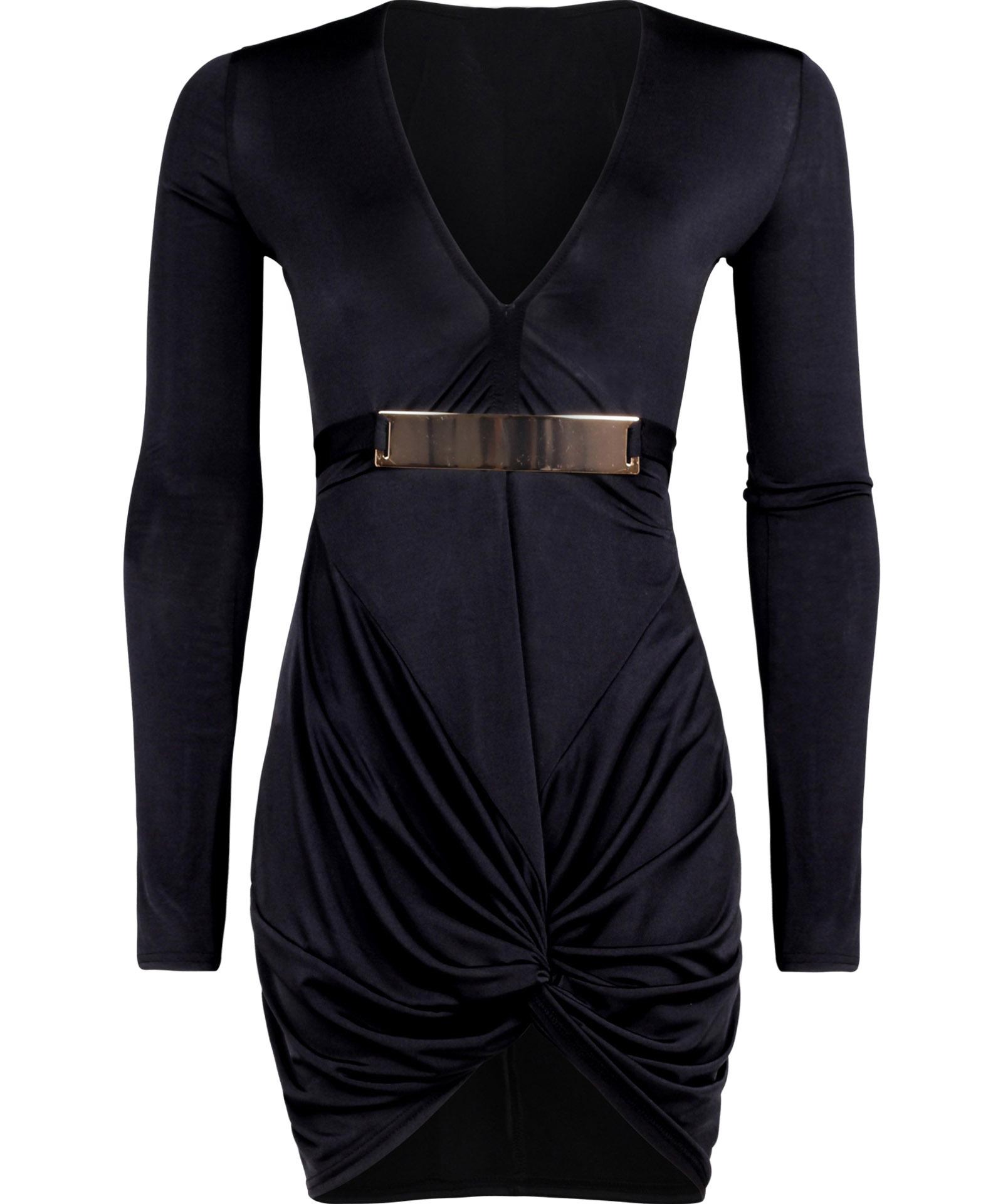 View Item Twisted Knot Slinky Bodycon Dress