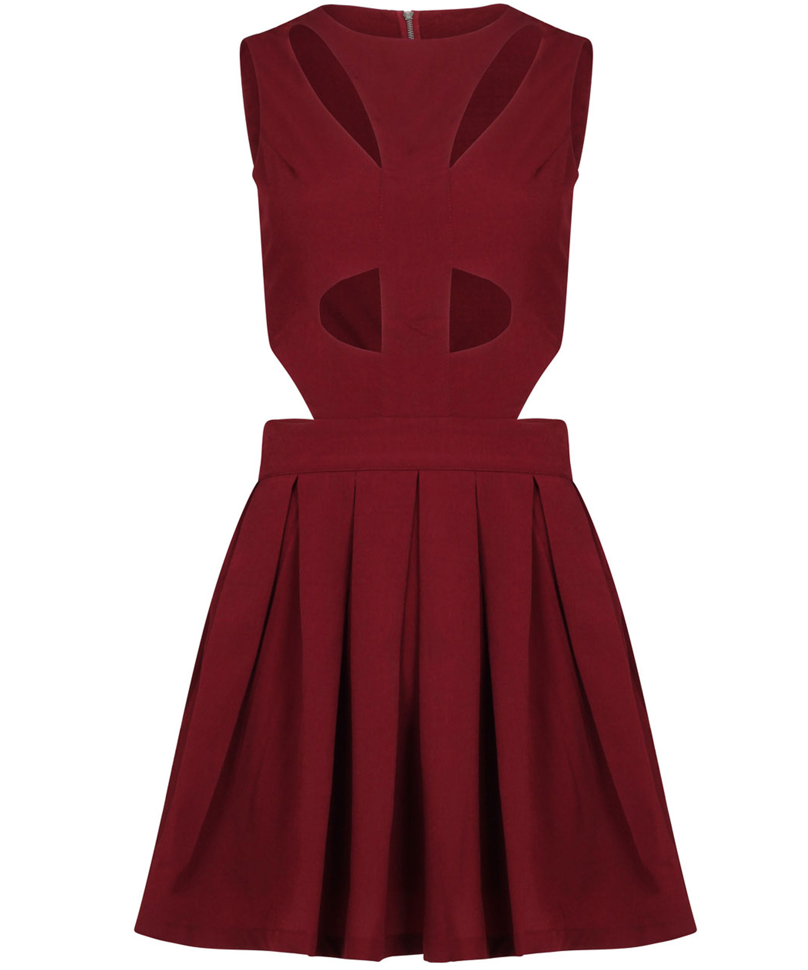 View Item Cutout Pleated Skater Dress