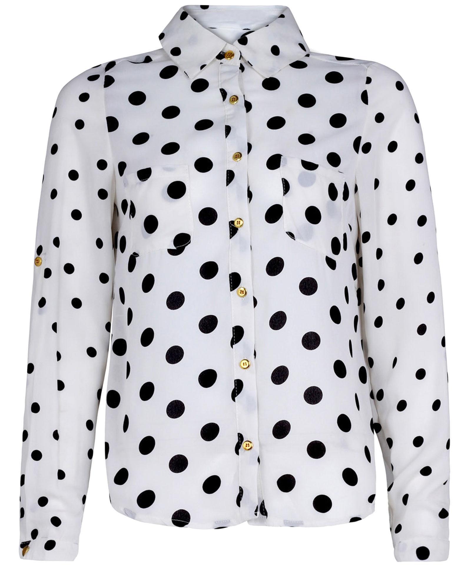 View Item Polkadot Print Chiffon Shirt