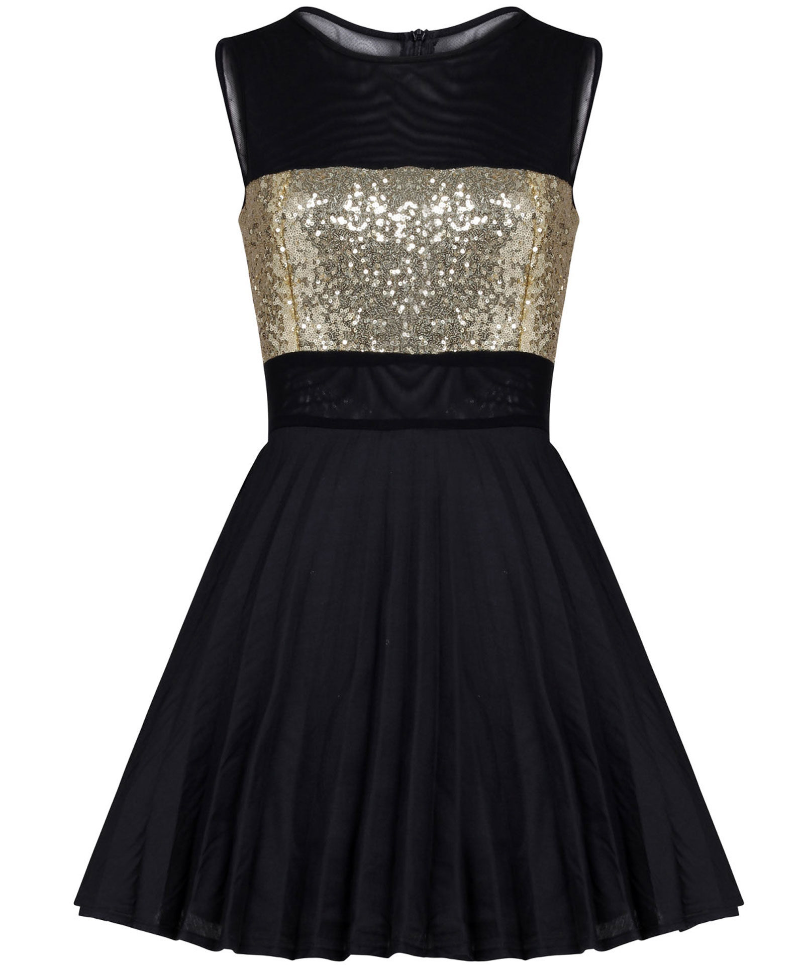 View Item Gold Sequin Pleated Puffball Skater Dress