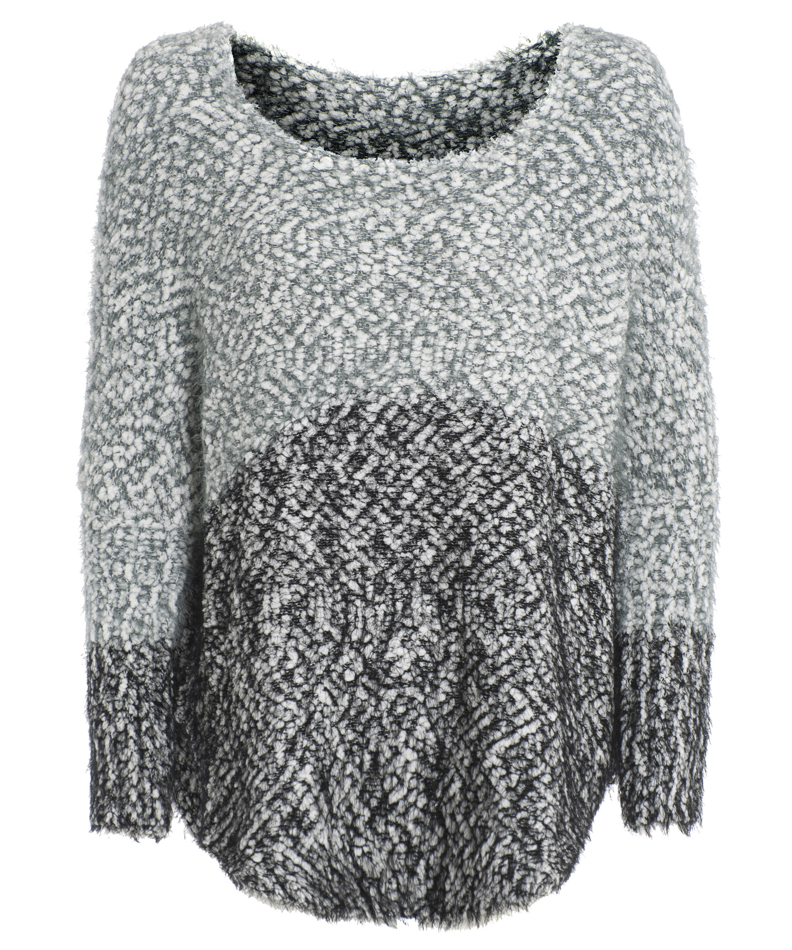 View Item Two Tone Fluffy Oversized Jumper