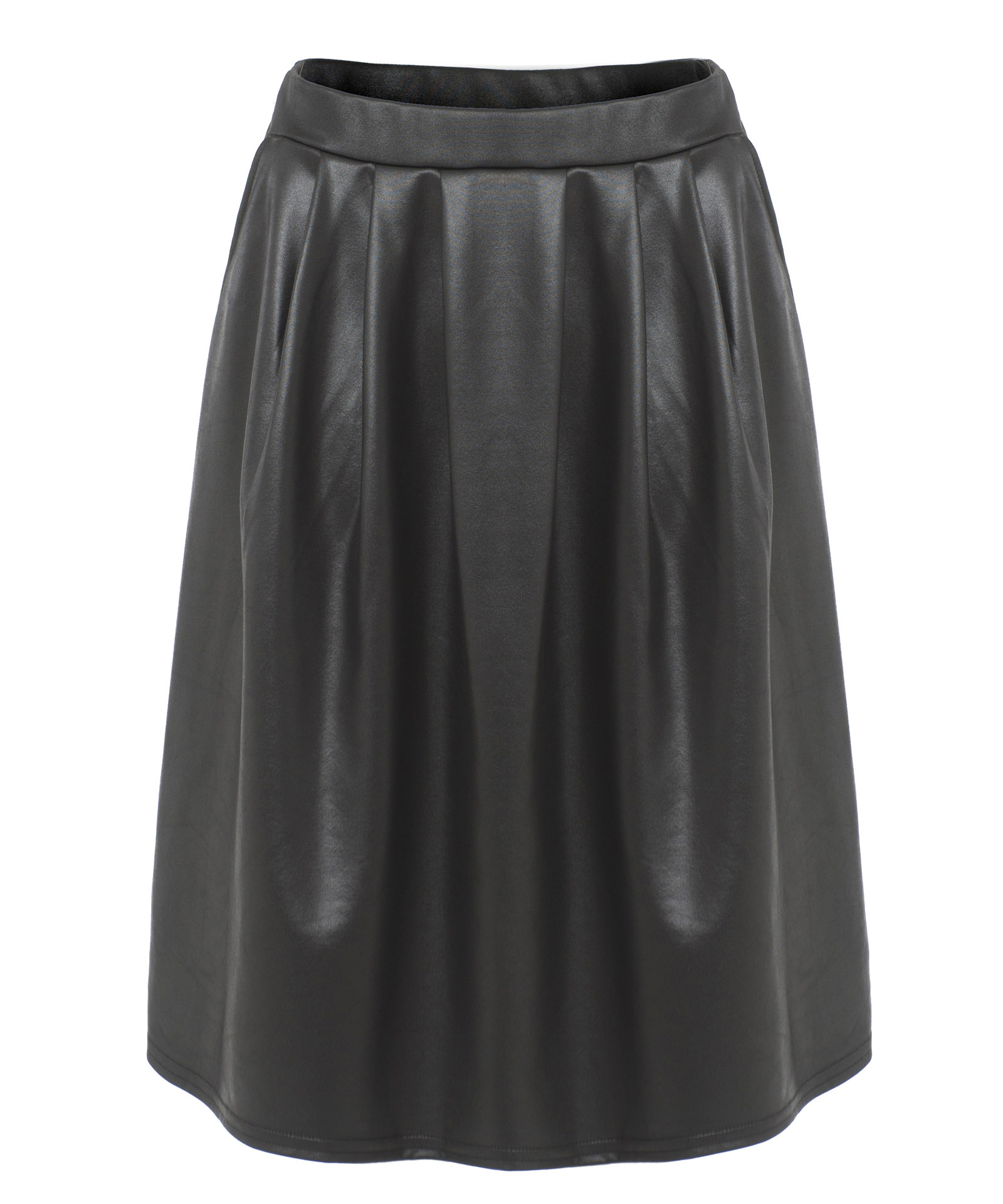 View Item PU Wet Look Pleated Skirt