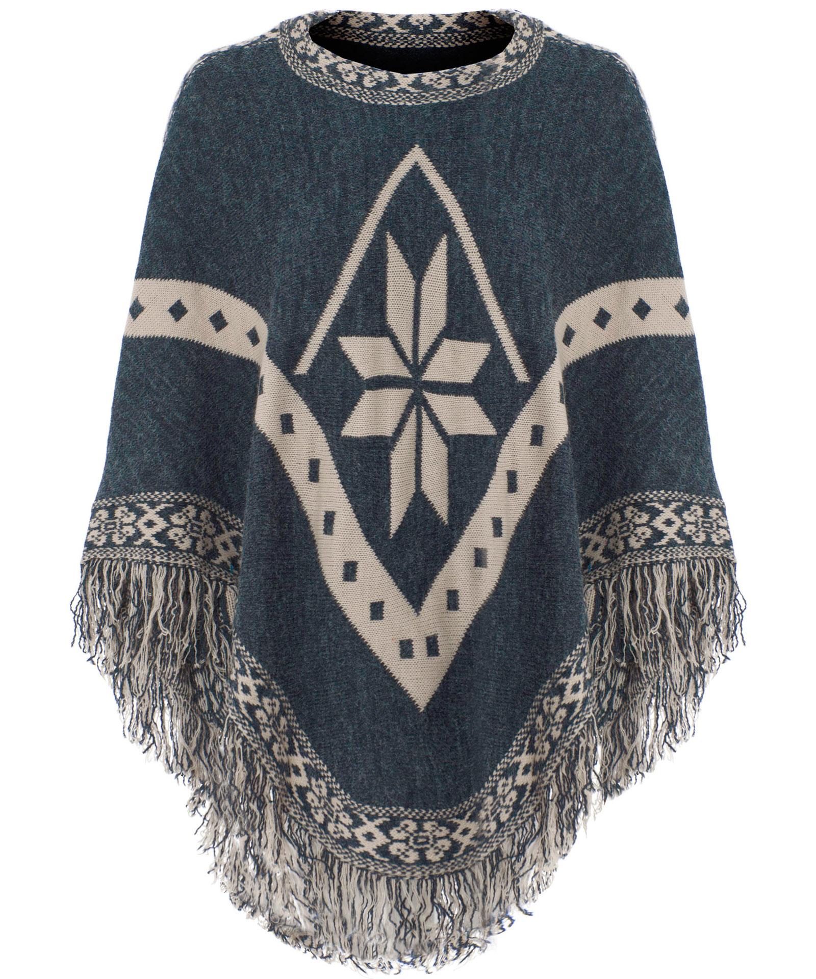 View Item Snowflake Tassel Fringe Knitted Poncho