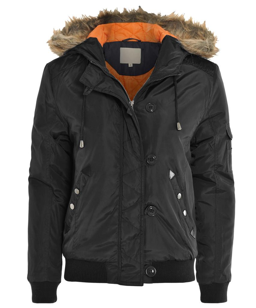 NEW Ladies Khaki Black Navy Faux Fur Hood Satin Biker ...