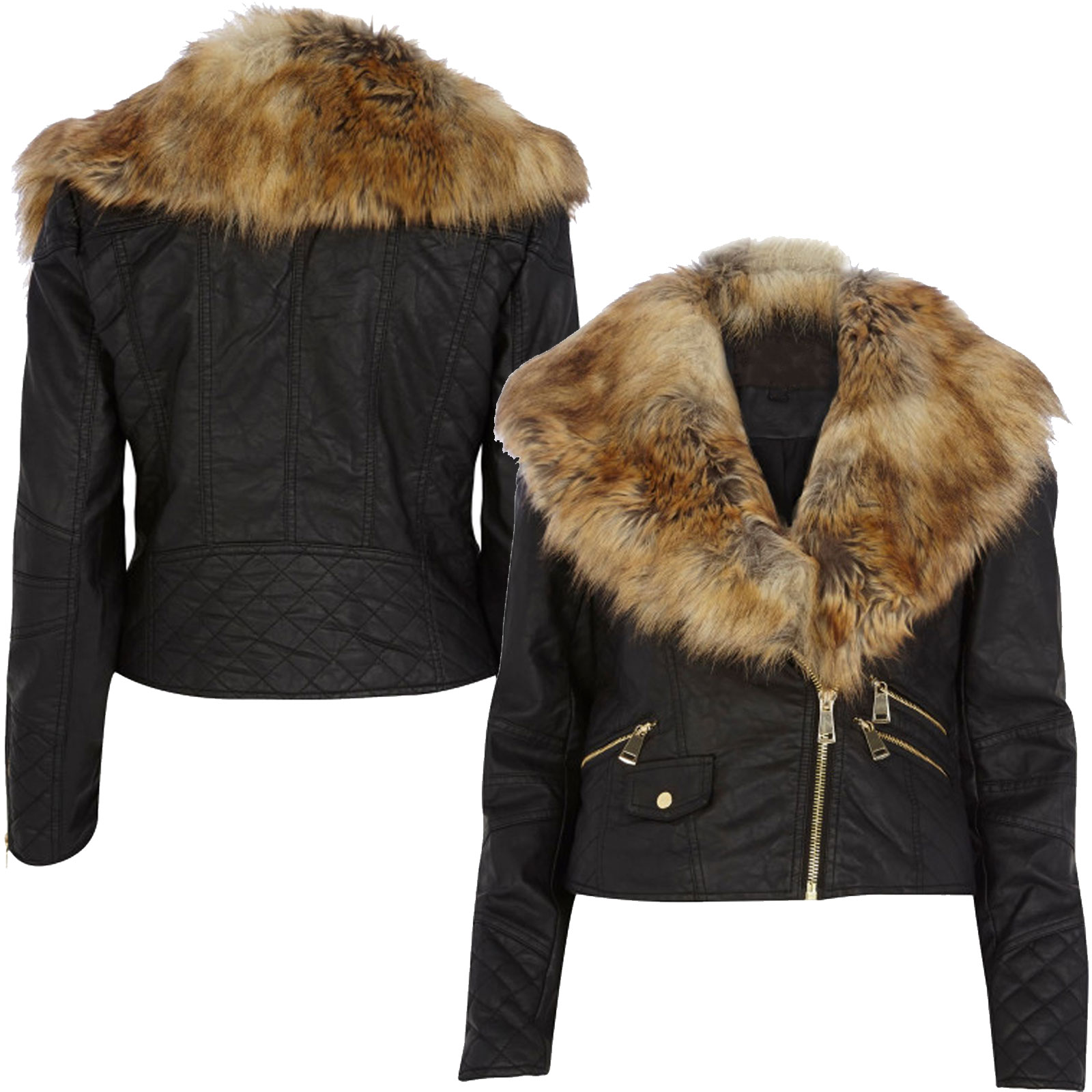 Ladies Coat With Fur Collar