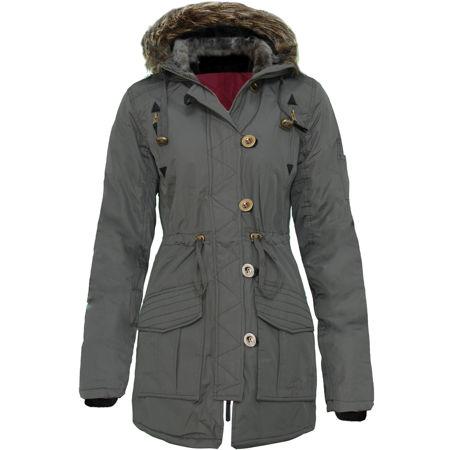 New Ladies Fur Hooded Long Military Parka Coat Padded Black Khaki ...