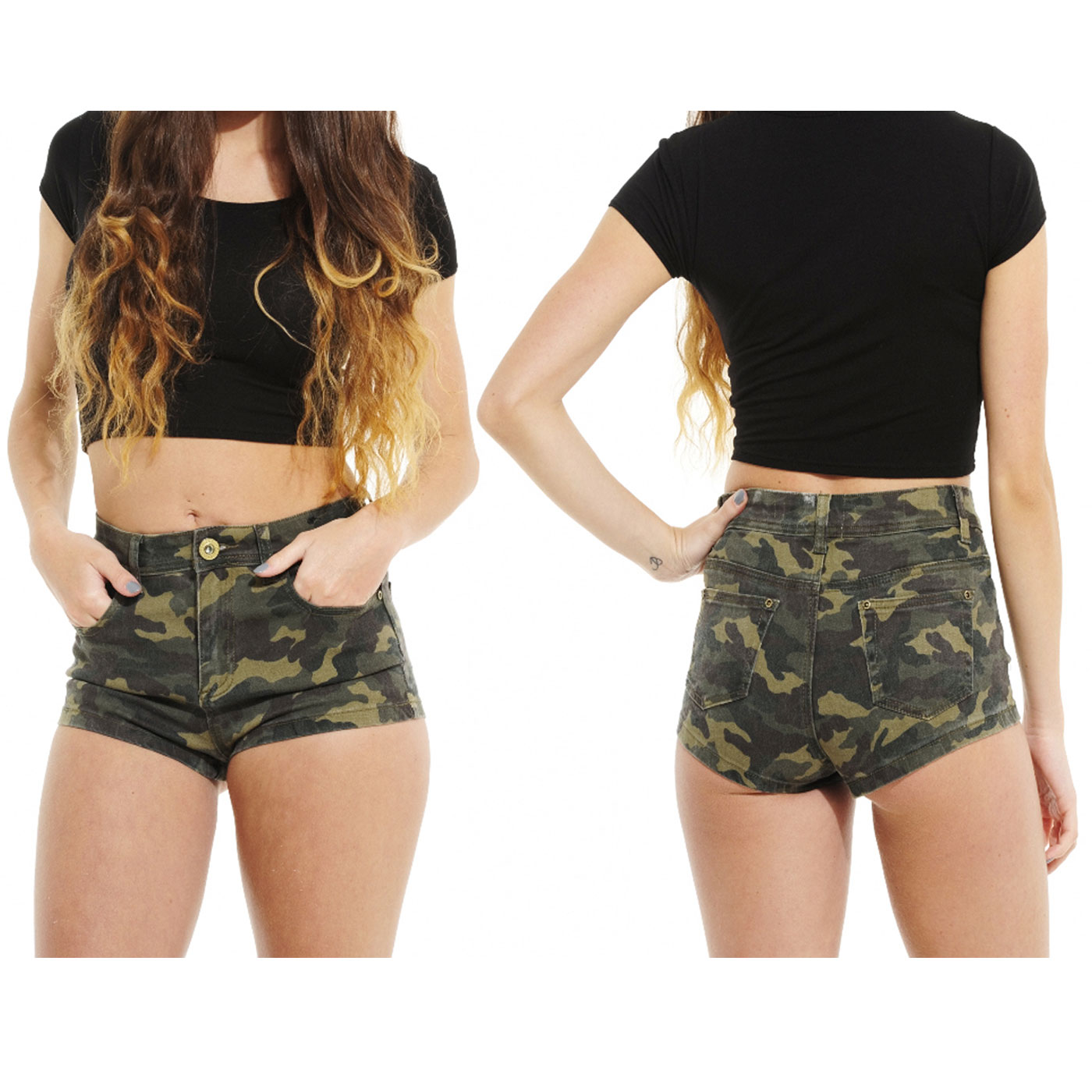 New Ladies Camouflage Military Printed High Waisted Denim Hot ...
