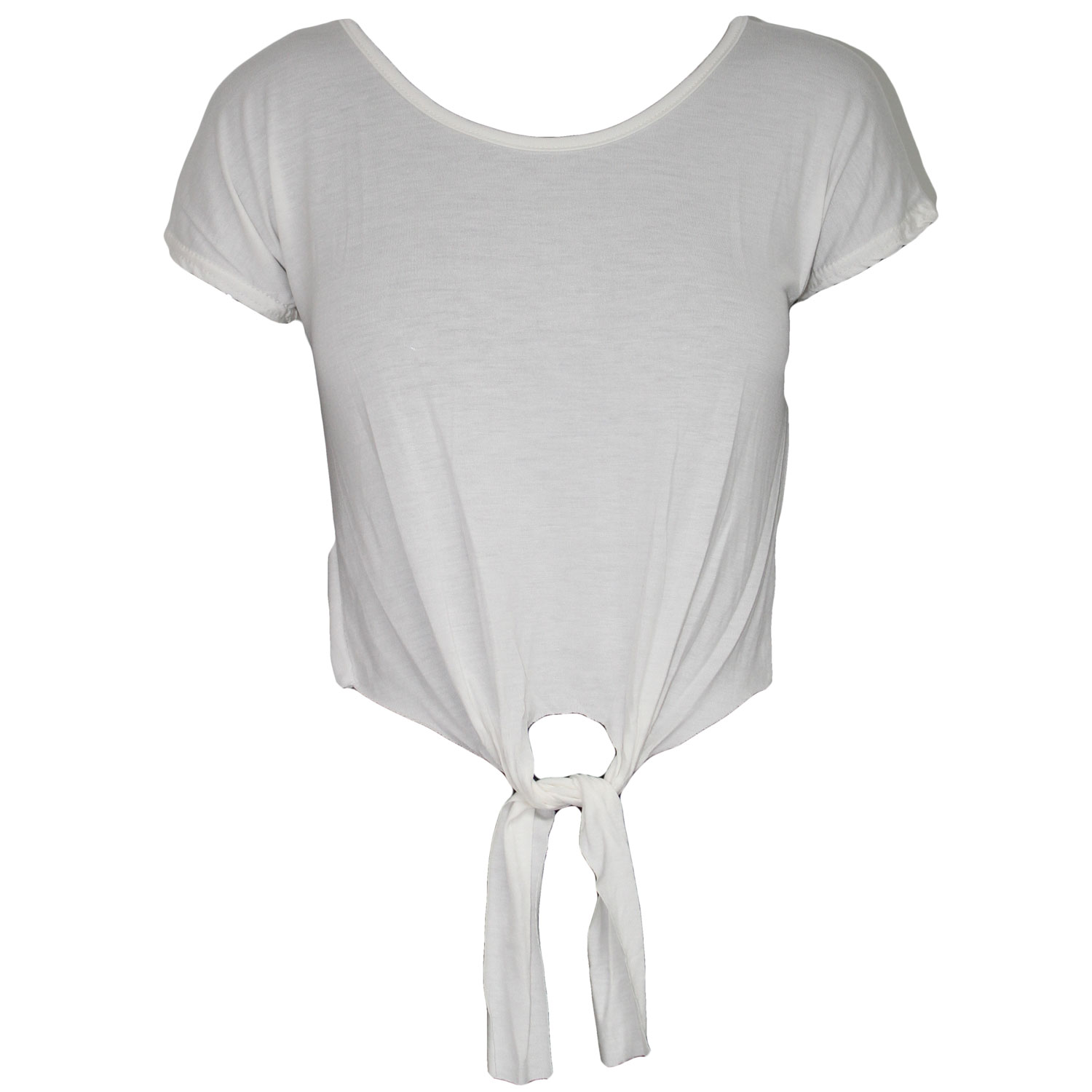 NEW-WOMENS-LADIES-TIE-FRONT-BLOUSE-JERSEY-CROPPED-TOP-TEE-SHIRT-SIZE-8-10-12-14