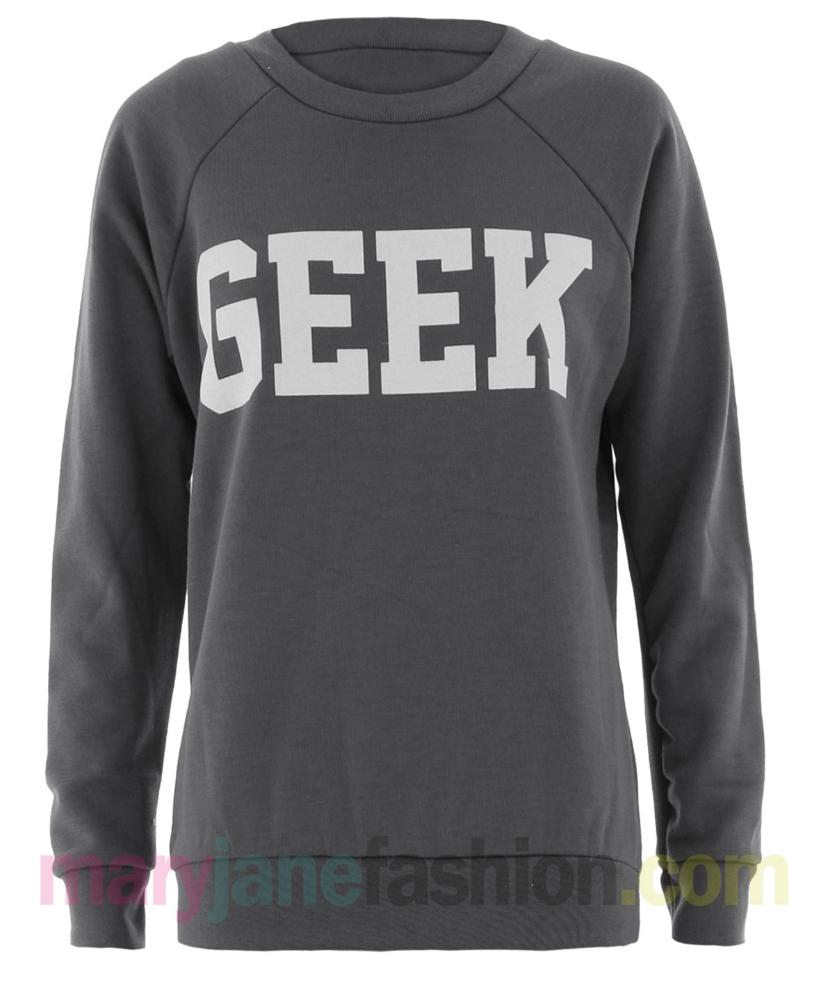 New-Womens-Ladies-Geek-Printed-Crew-Neck-Jumper-Sweater-6-8-10-12
