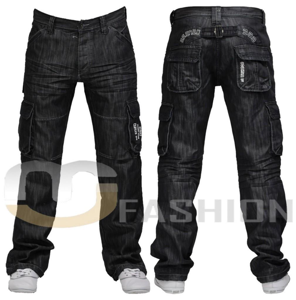 mens denim enzo designer combat jeans size 30 32 34 36 ebay. Black Bedroom Furniture Sets. Home Design Ideas