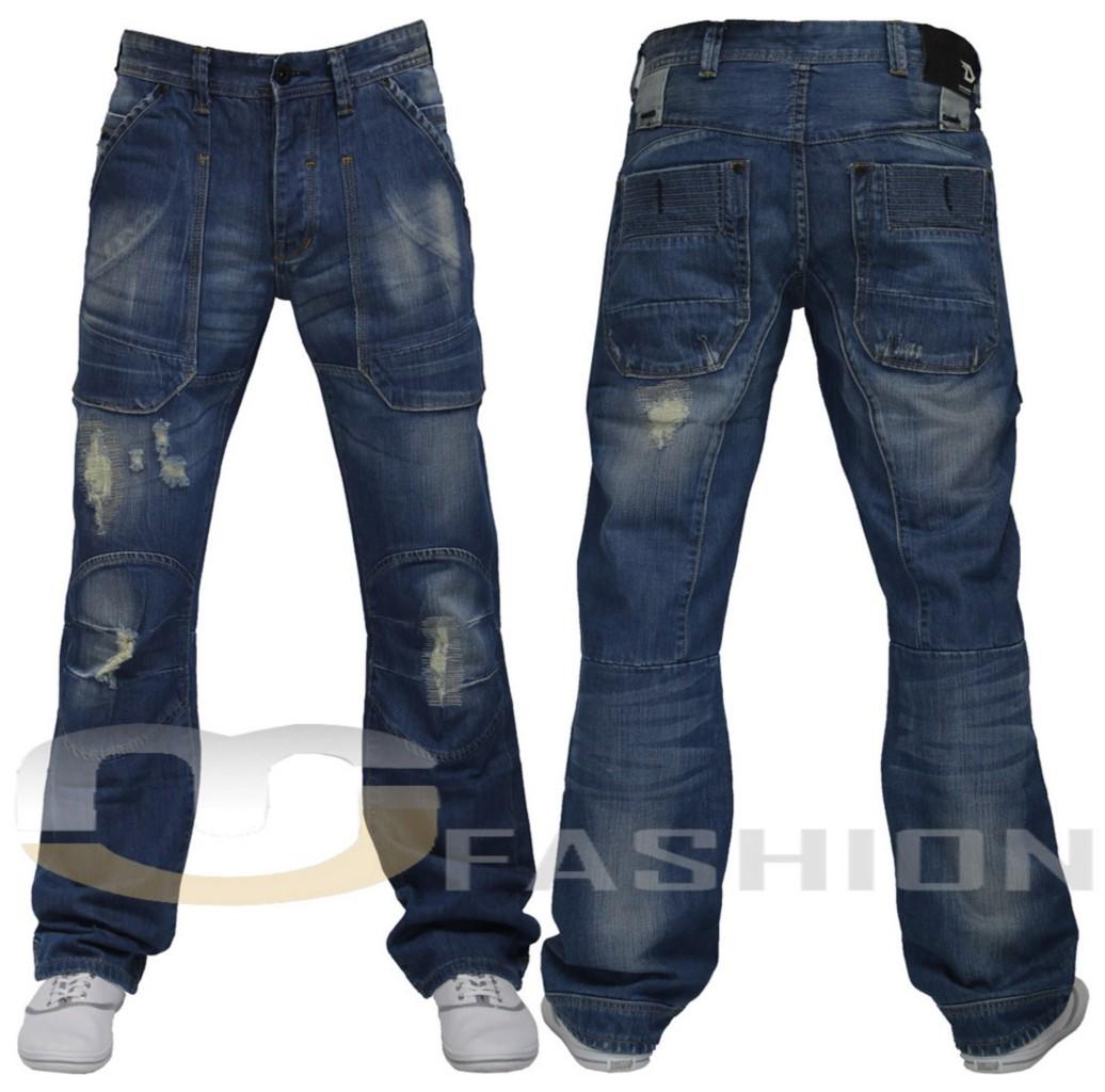 Mens Blue Jeans New Denim Designer Vintage Loose Fit
