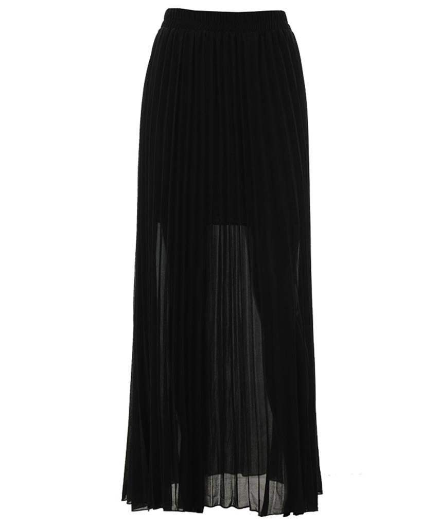 New-Womens-High-Waisted-Long-Maxi-Pleated-Floaty-Chiffon-Lined-Skirt-UK-8-14