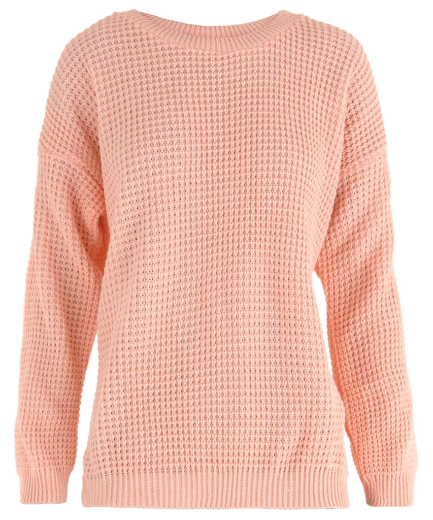 Ladies Pastel Loose Oversized Waffle Knit Wide Scoop Neck Sweater Jumper UK 8...
