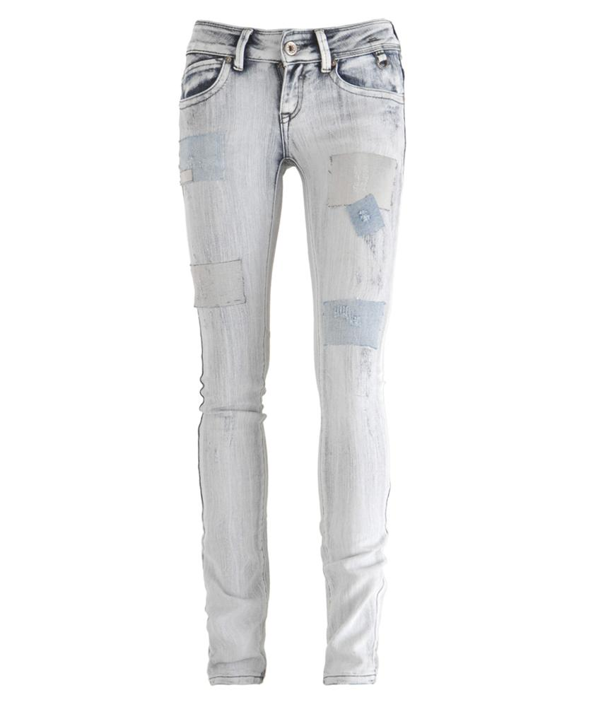 womens acid wash distressed patchwork denim skinny jeans 8