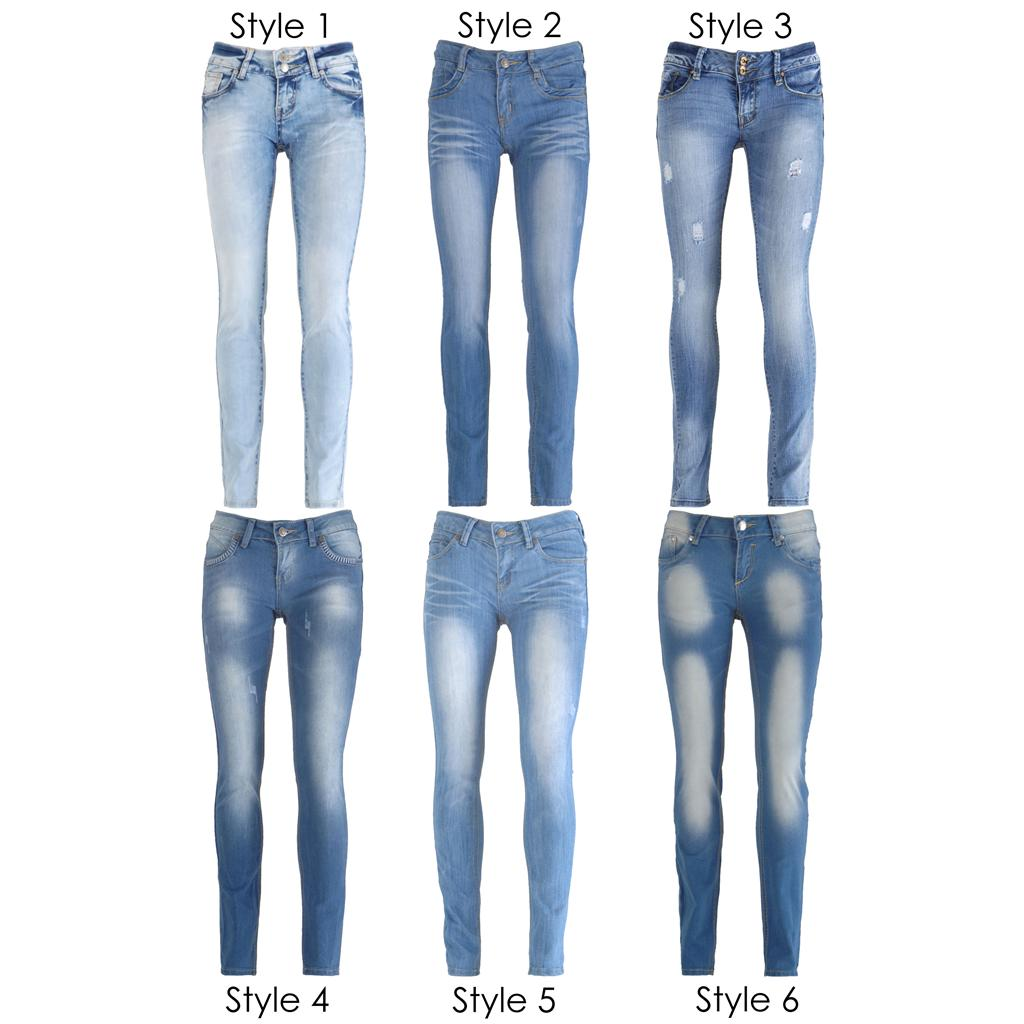 New Women Light Blue Wash Faded Distressed Skinny Slim Fit Denim ...