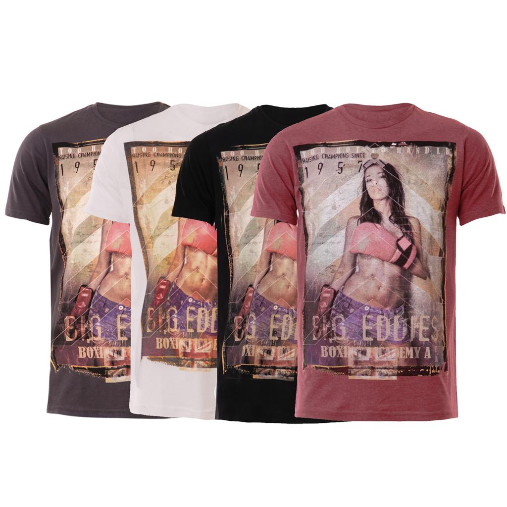 New-Mens-Sexy-Girl-Boxing-Academy-Print-Casual-T-shirt-Top-UK-S-M-L-XL