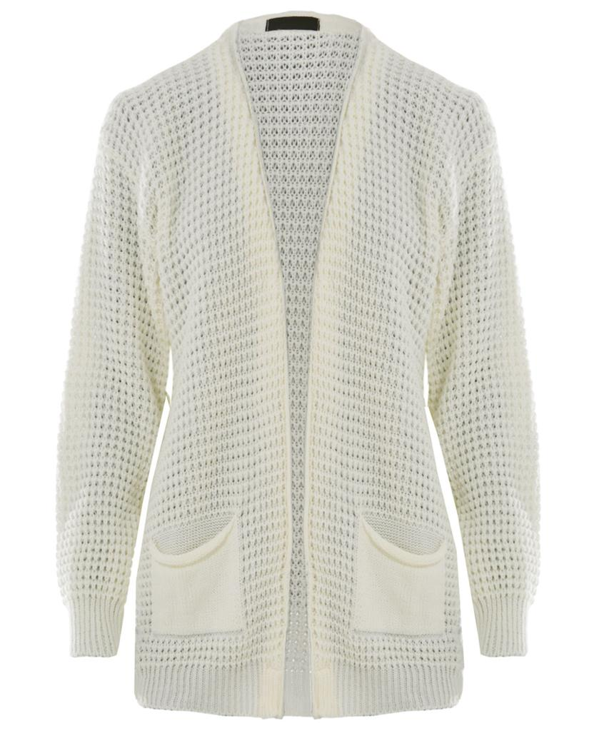 New Ladies Loose Cable Waffle Knit Casual Open Style ...