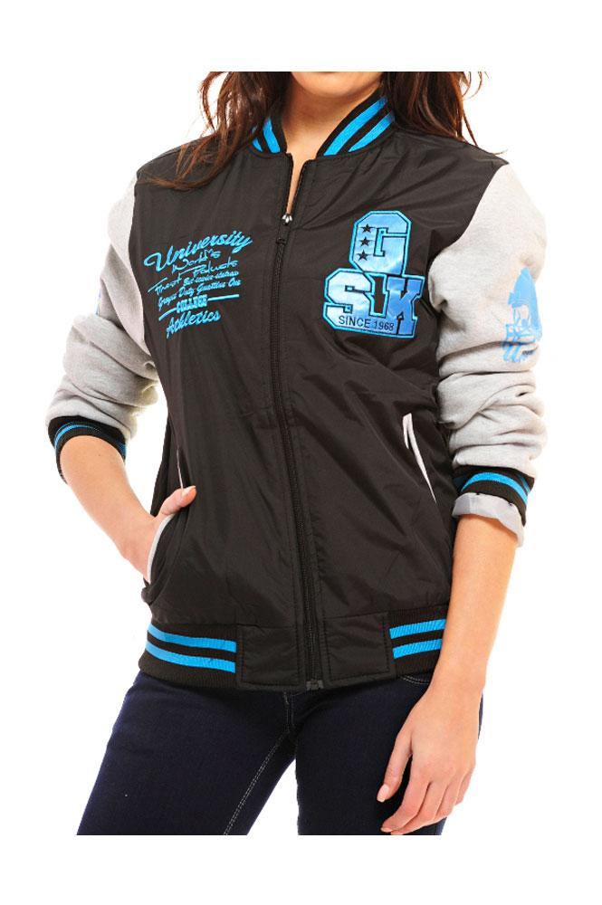 Ladies Neon Badge Striped Jersey Sleeve Athletic Baseball Varsity ...