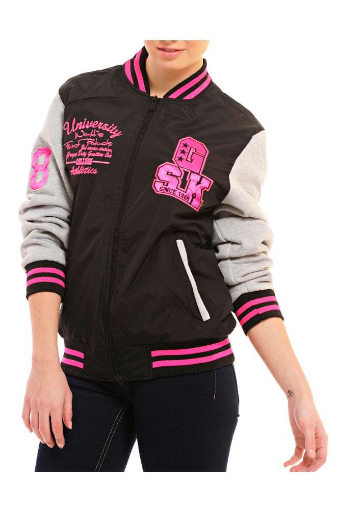 Ladies Neon Badge Striped Jersey Sleeve Athletic Baseball Varsity ...