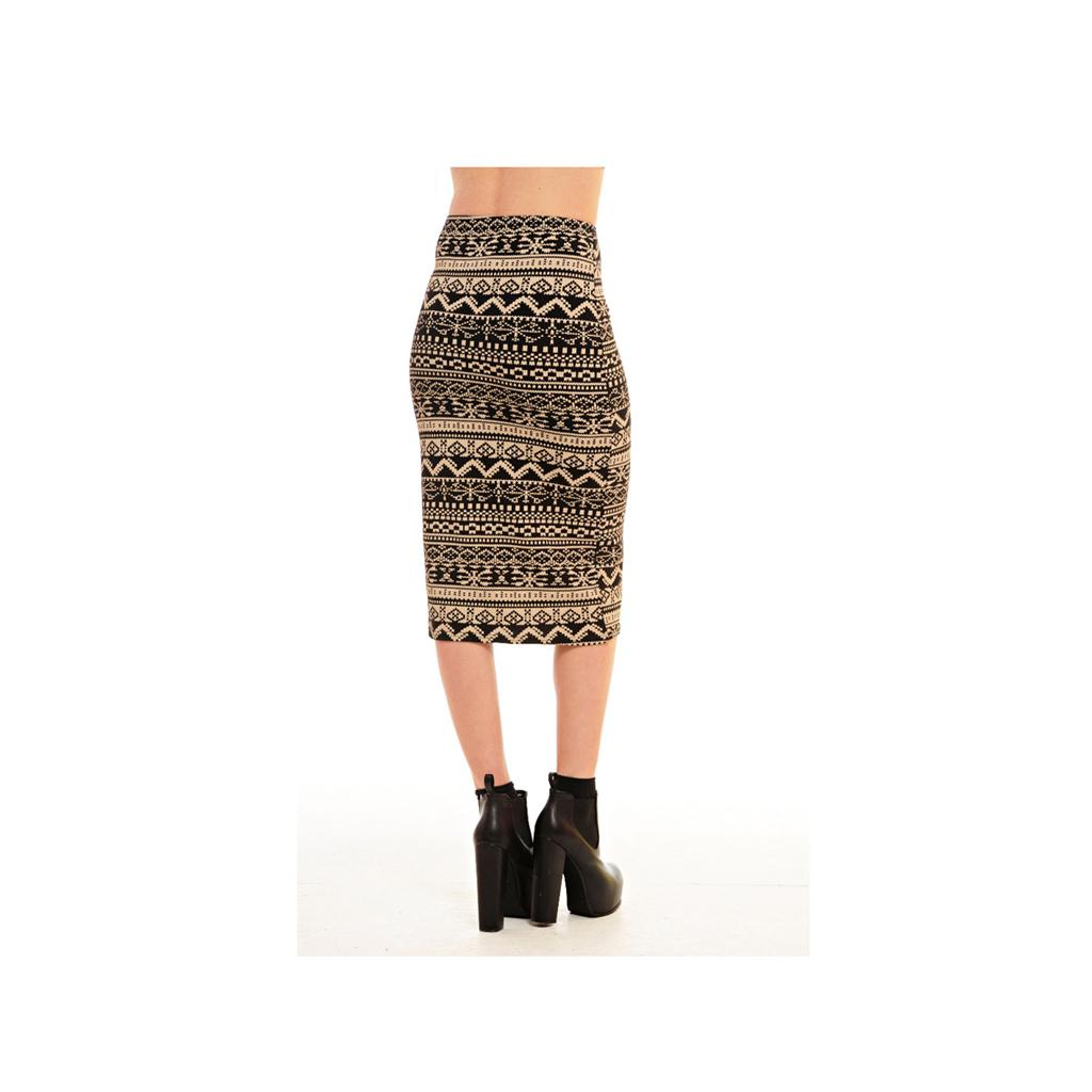 pixel fairisle aztec print high waisted knee length