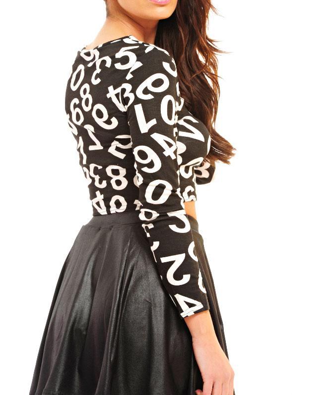top shirt oberteil damen bauchfrei zahlen schwarz wei lang rmlig rundhals 36 42. Black Bedroom Furniture Sets. Home Design Ideas