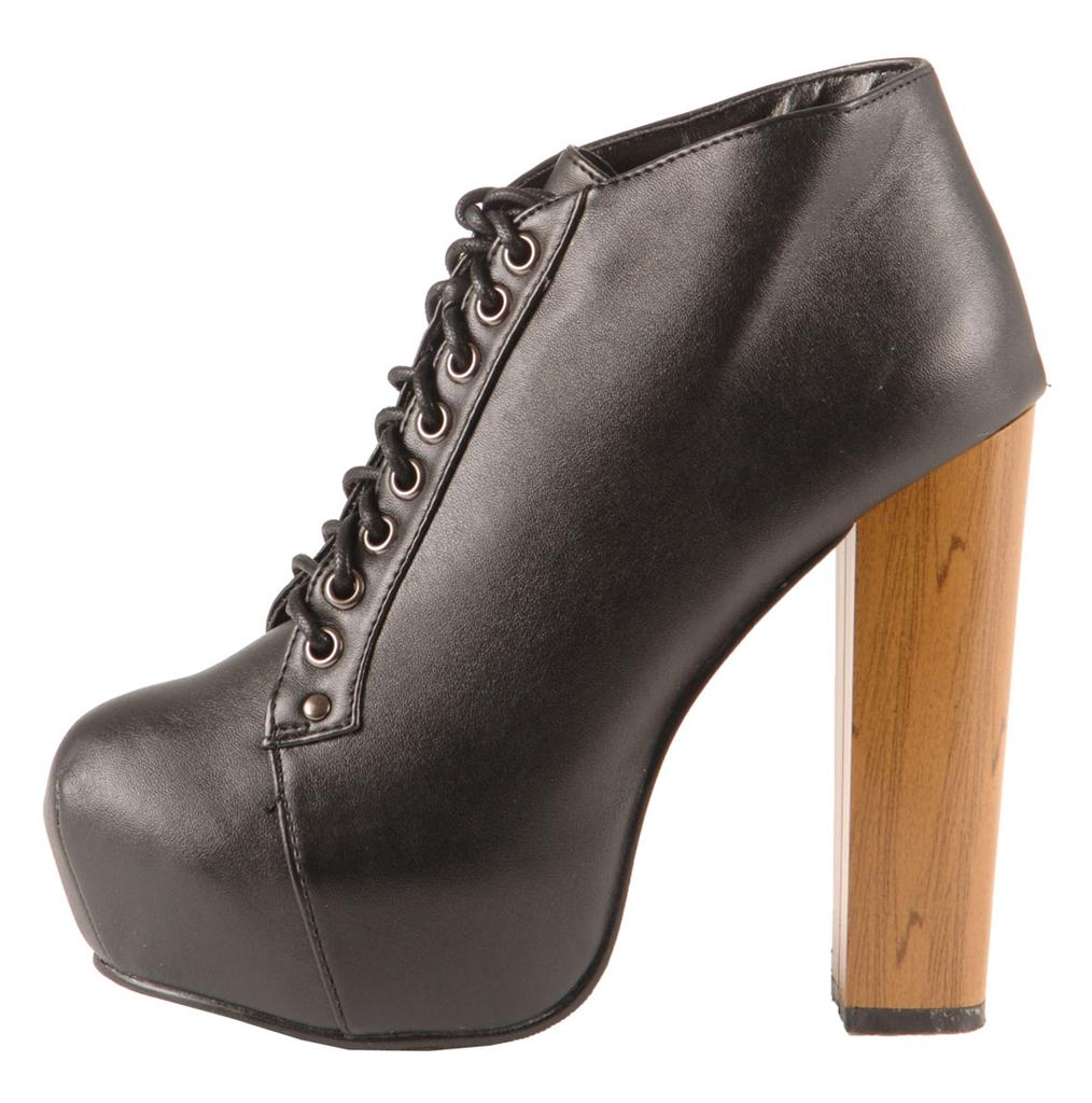 womens wooden chunky heel lace up platform shoes boots uk