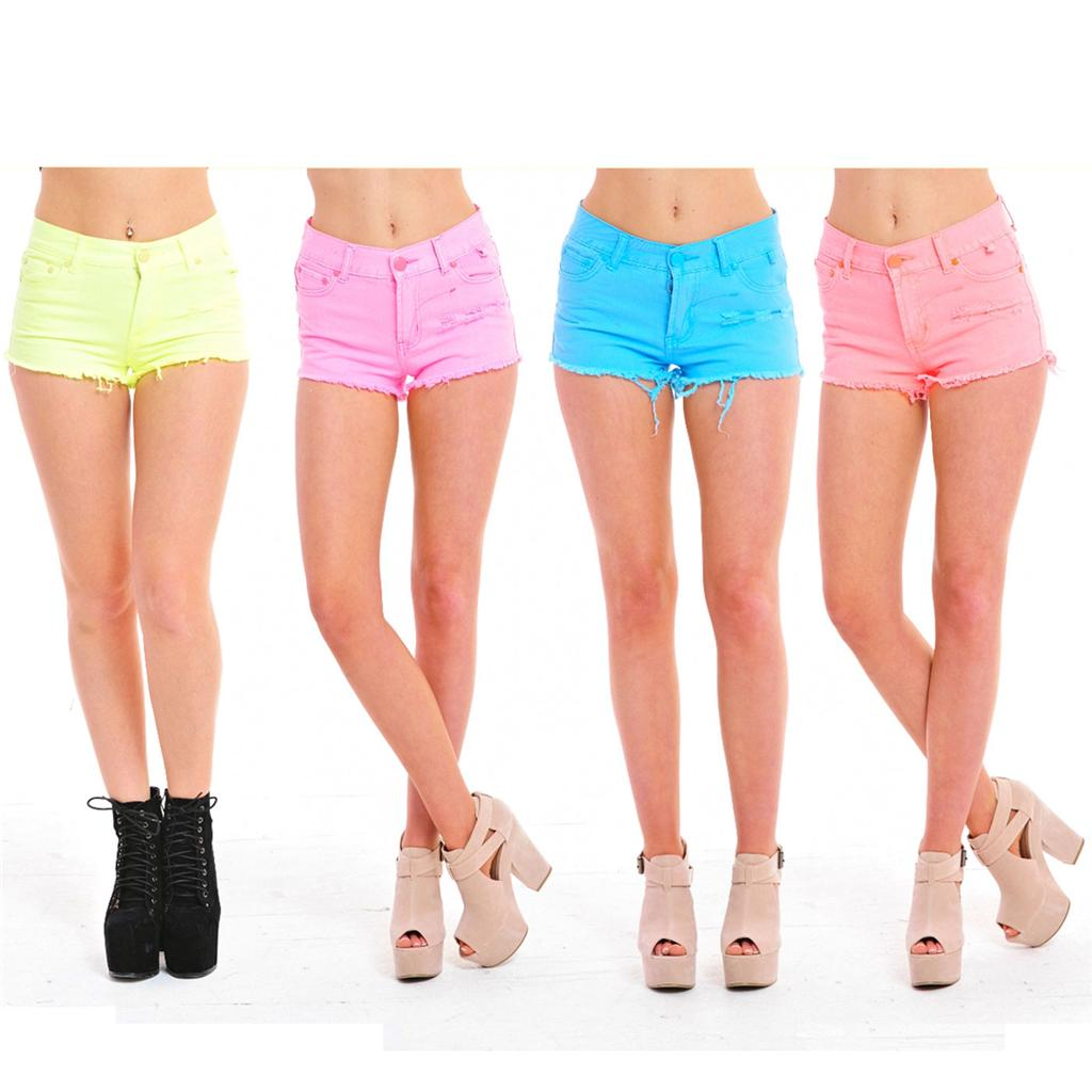 Ladies Womens Neon Fluoro Denim Cut Off Distressed Hot Pant Shorts ...