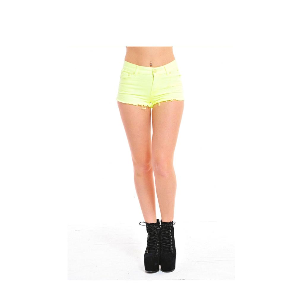 Ladies-Womens-Neon-Fluoro-Denim-Cut-Off-Distressed-Hot-Pant-Shorts-UK-8-10-12-14
