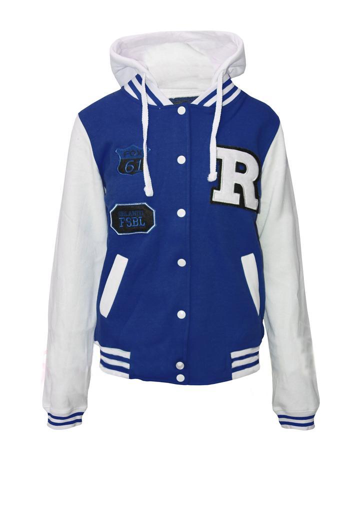 Womens Ladies Bomber Jersey Varsity Baseball Hooded Jacket Hoodie