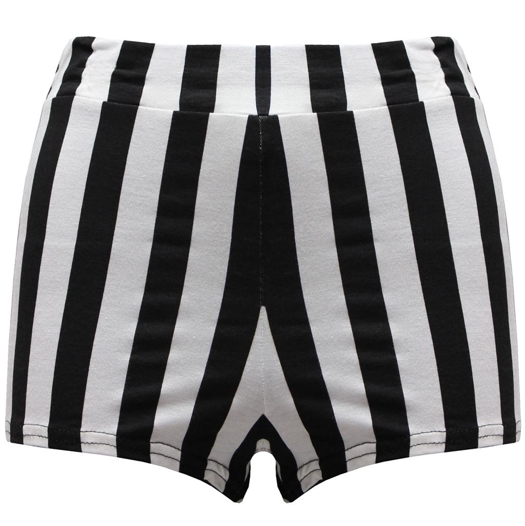 Womens-Ladies-High-Waisted-Jersey-Striped-Printed-Shorts-Hot-Pants-8-10-12-14
