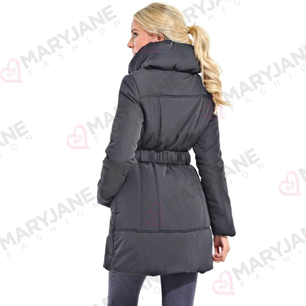 Womens Ladies Black Padded Quilted Funnel Neck Belt Long Length